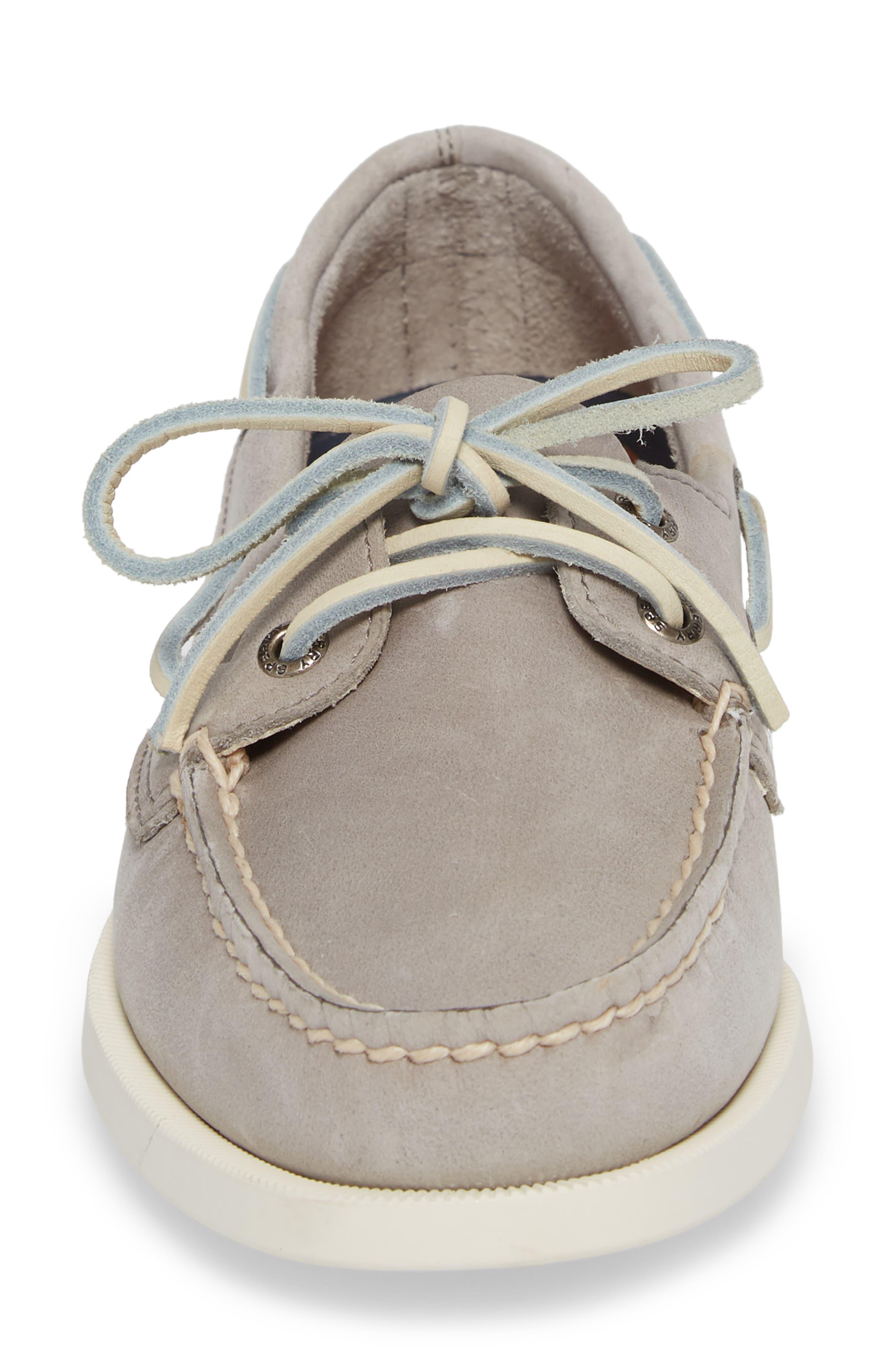 'Authentic Original' Boat Shoe,                             Alternate thumbnail 4, color,                             Grey Leather