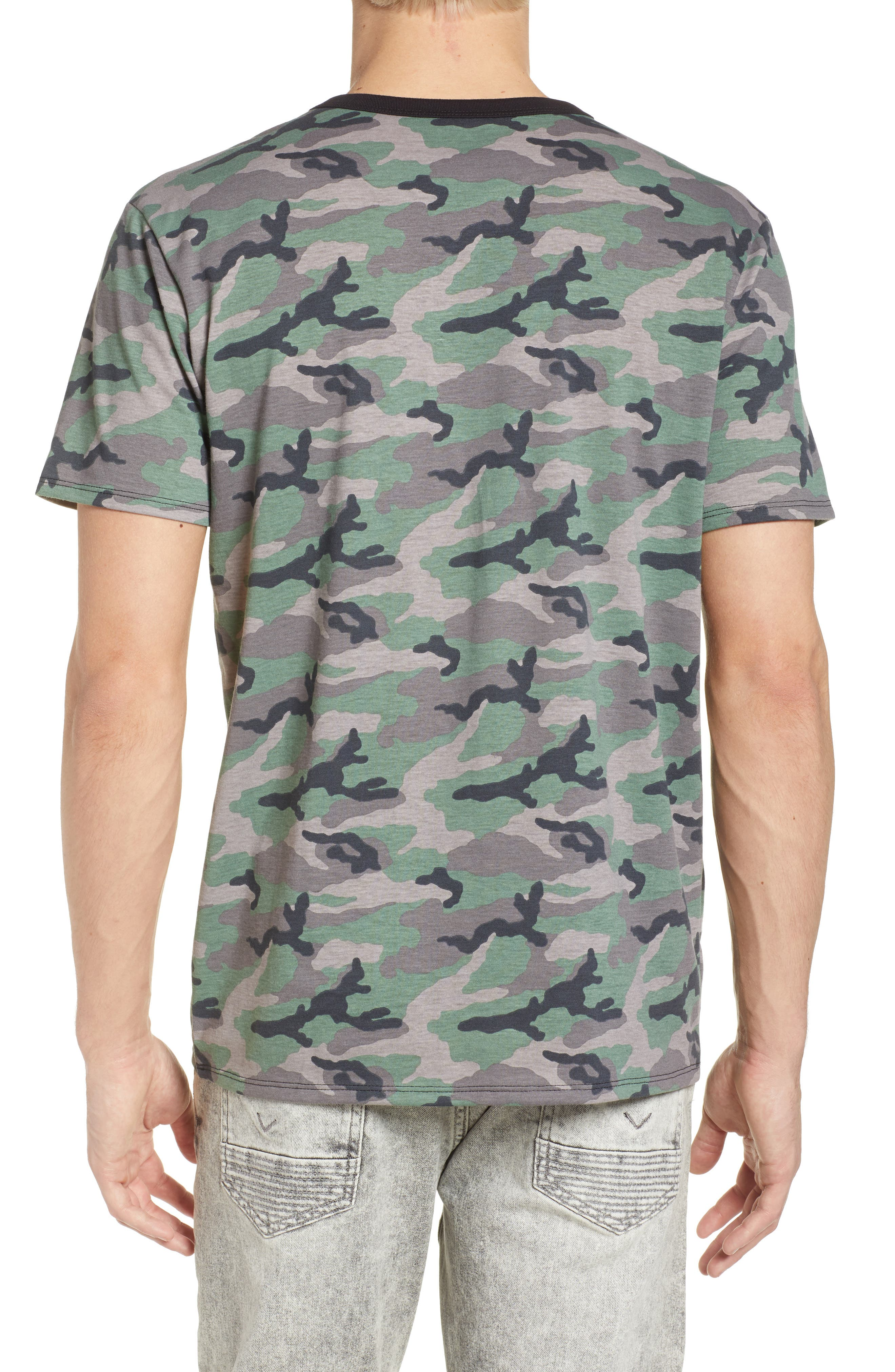 Camo Print Ringer T-Shirt,                             Alternate thumbnail 2, color,                             Brown Green Camo