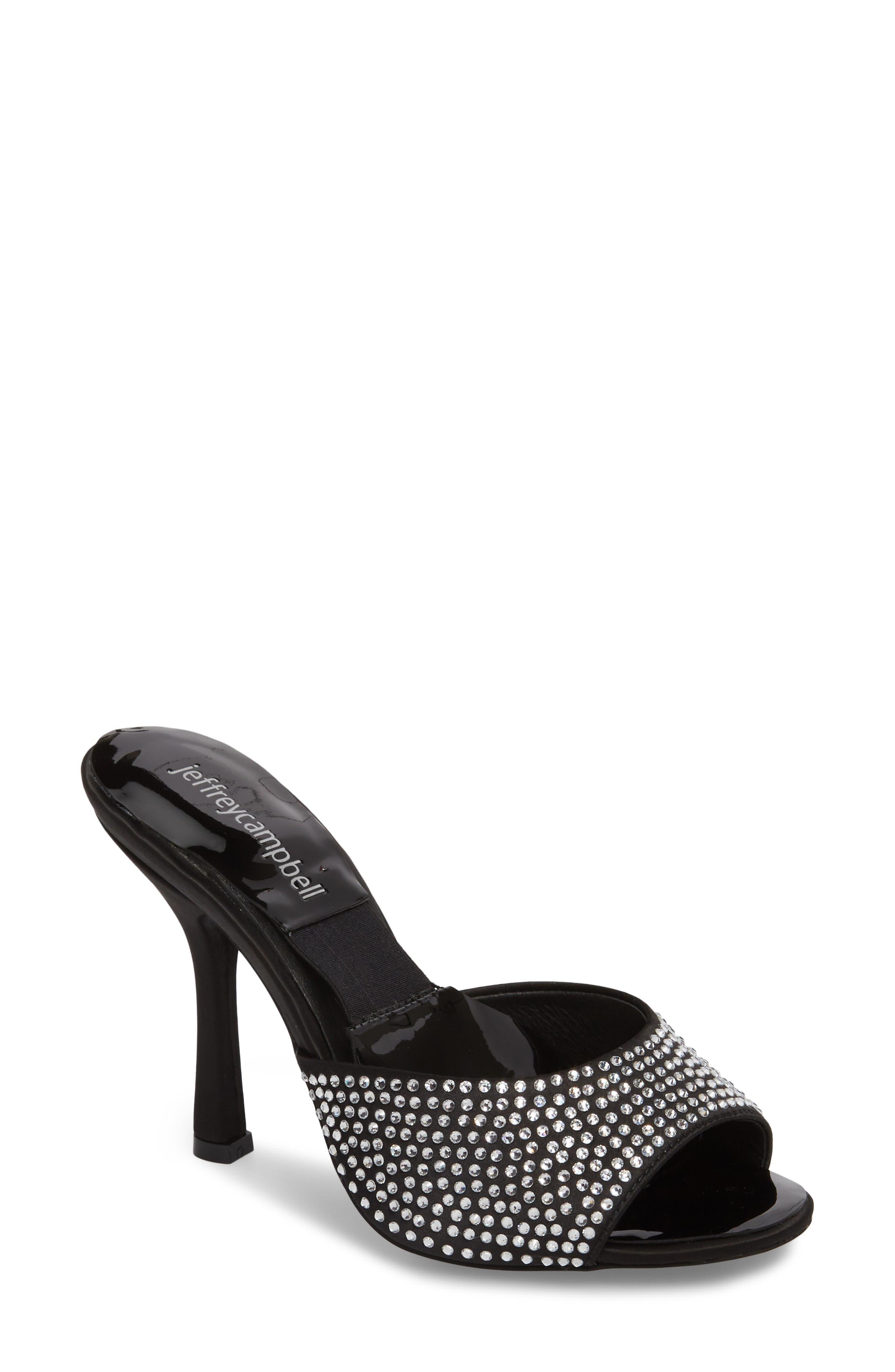 PG-13 Embellished Sandal,                         Main,                         color, Black Satin/ Clear