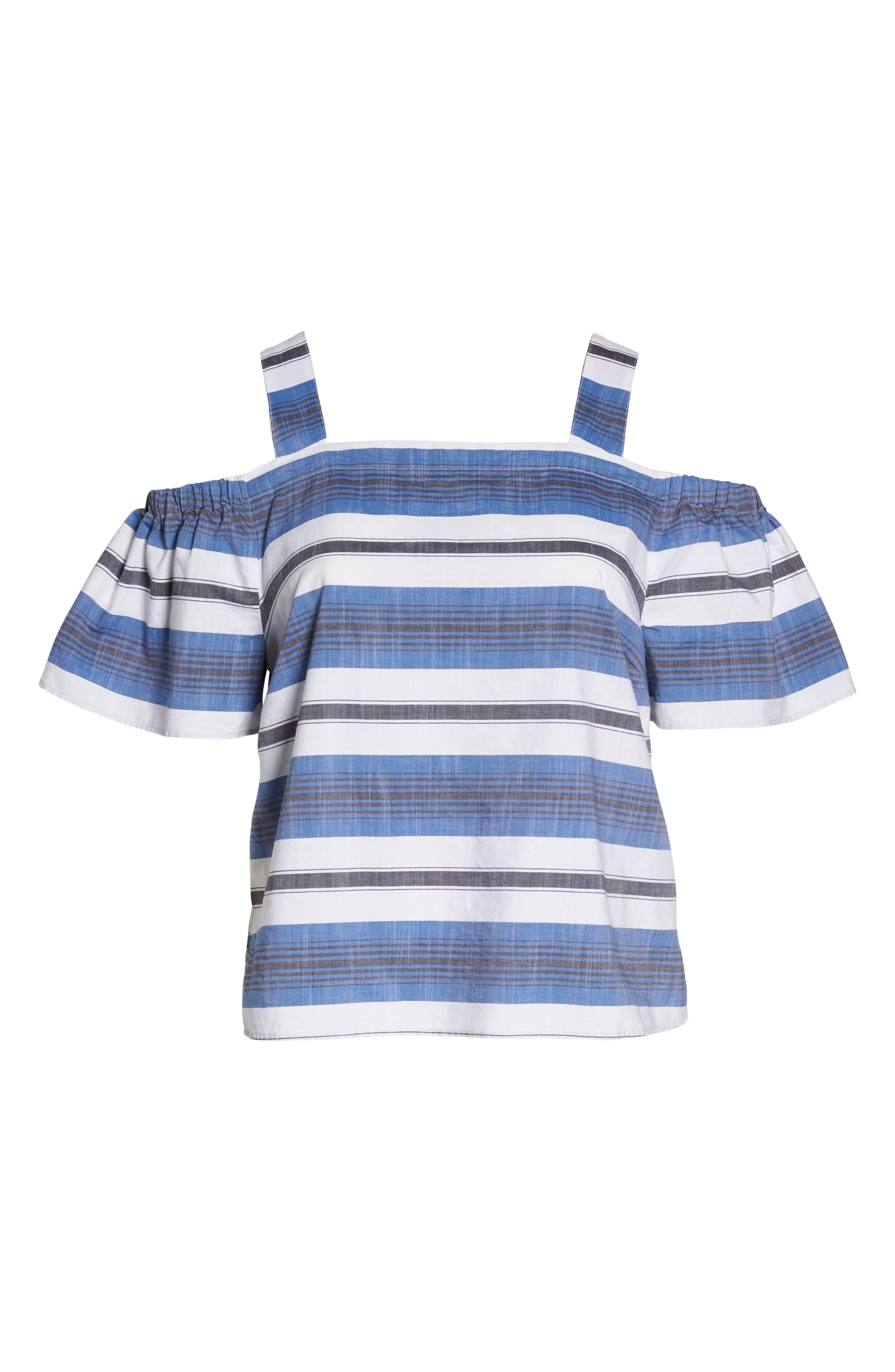 Cold Shoulder Stripe Top,                             Alternate thumbnail 7, color,                             Blue Multi