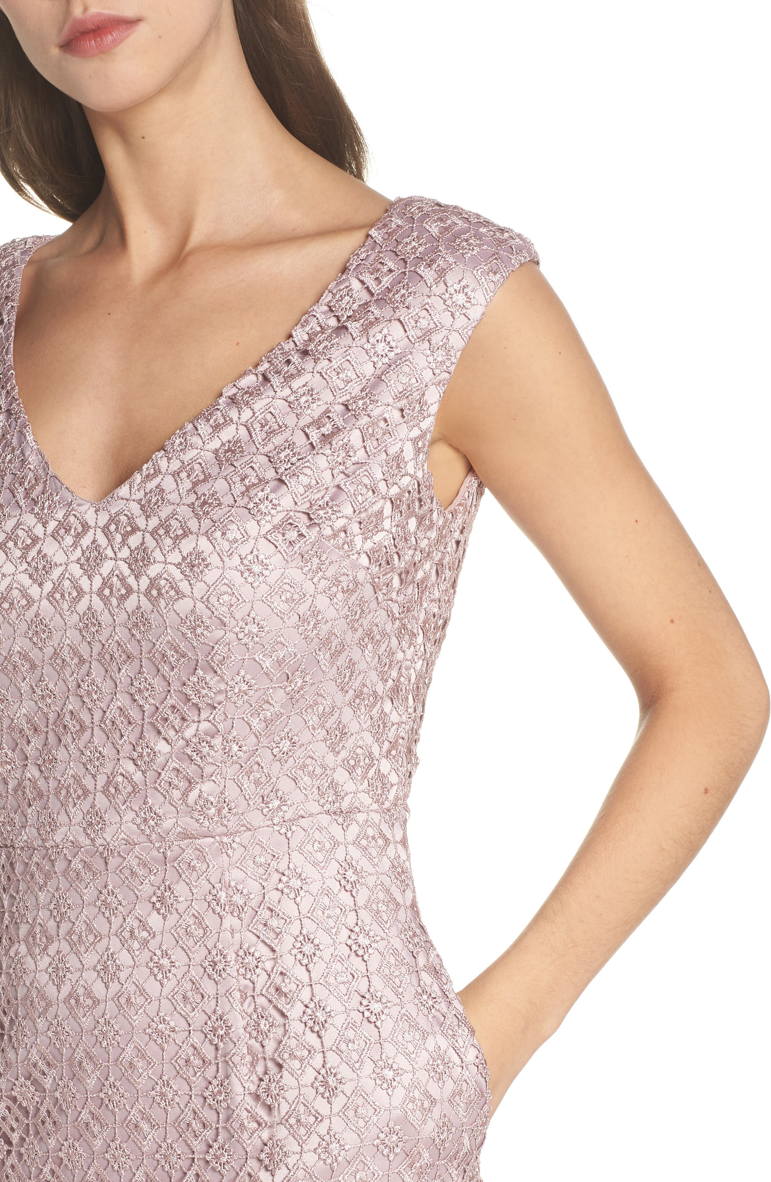 Guipure Lace Dress,                             Alternate thumbnail 4, color,                             Pink Sateen