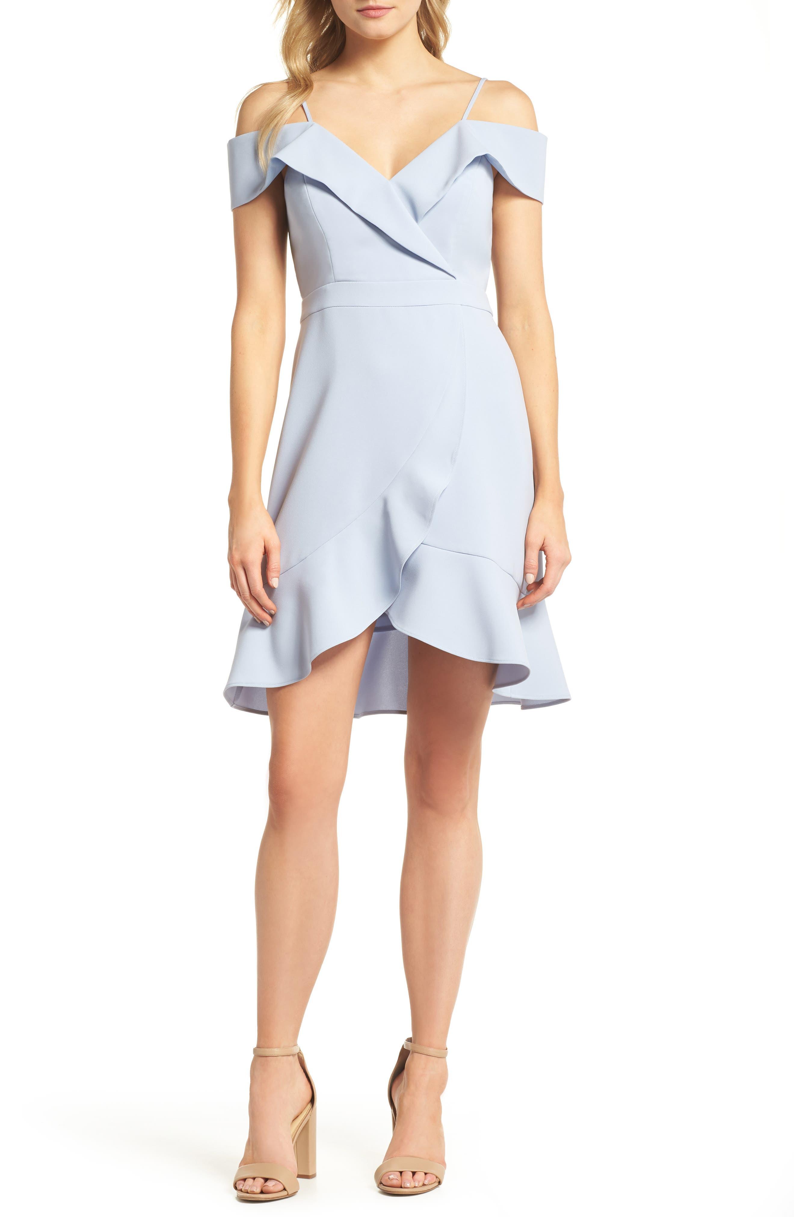 Cold Shoulder Ruffle Sheath Dress,                         Main,                         color, Sky Blue