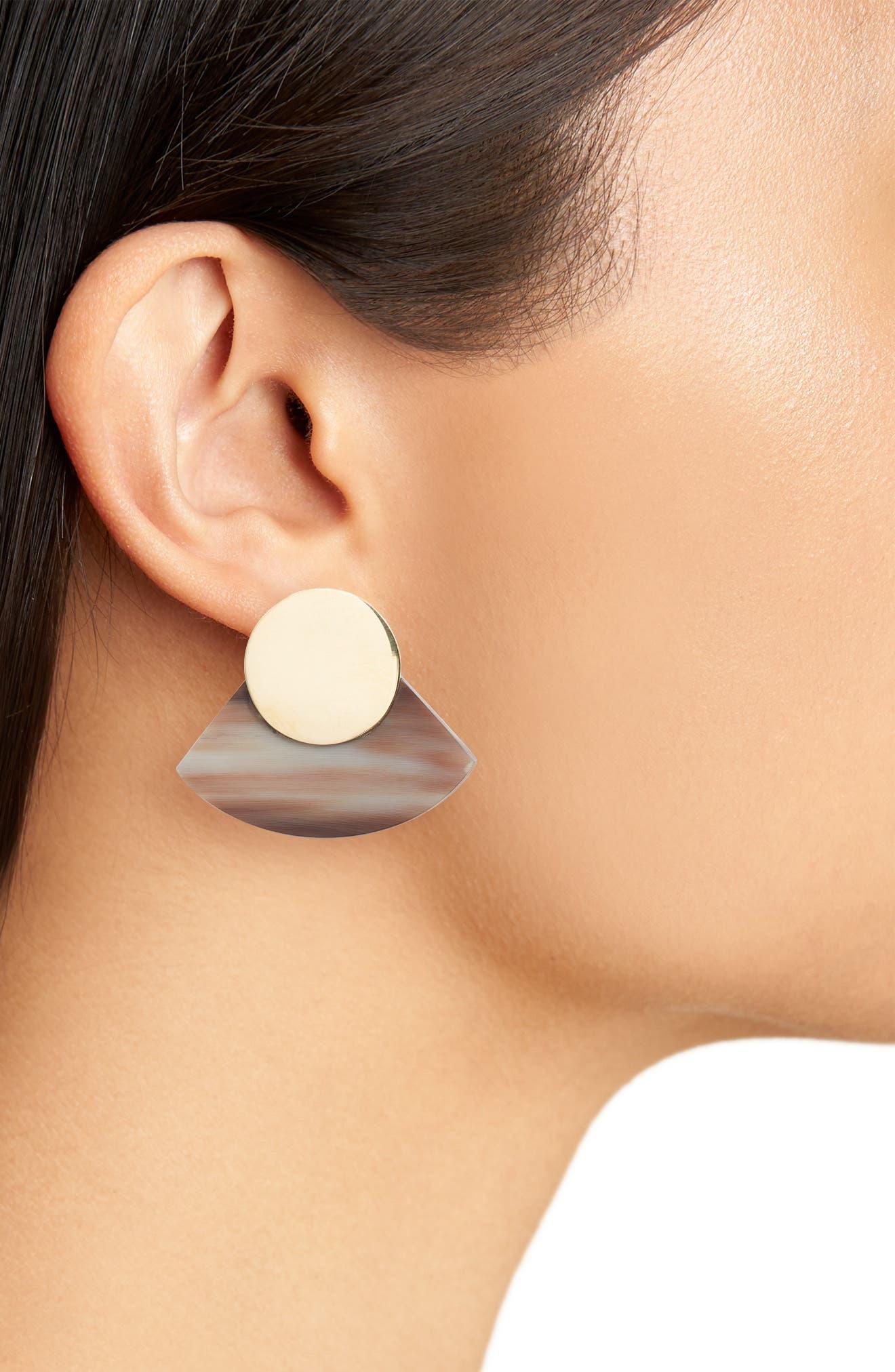 Horn Paddle Stud Earrings,                             Alternate thumbnail 2, color,                             Natural/ Brass