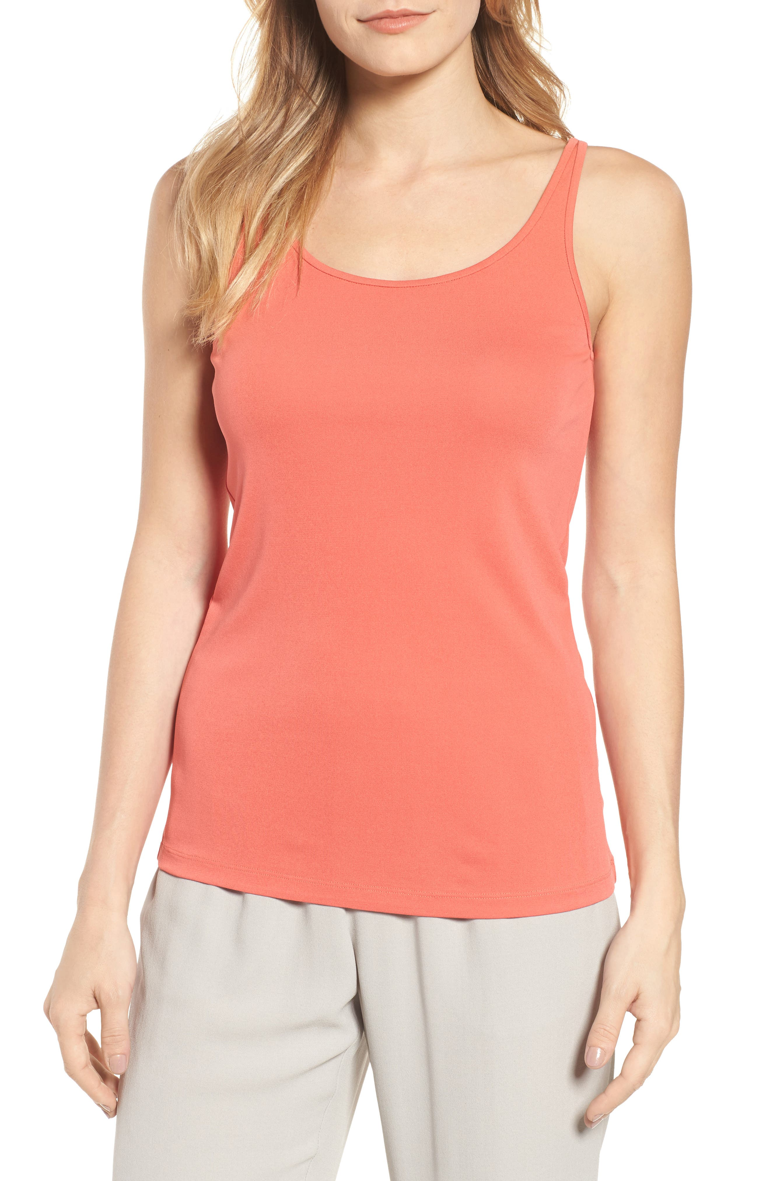 Long Scoop Neck Camisole,                         Main,                         color, Mimosa