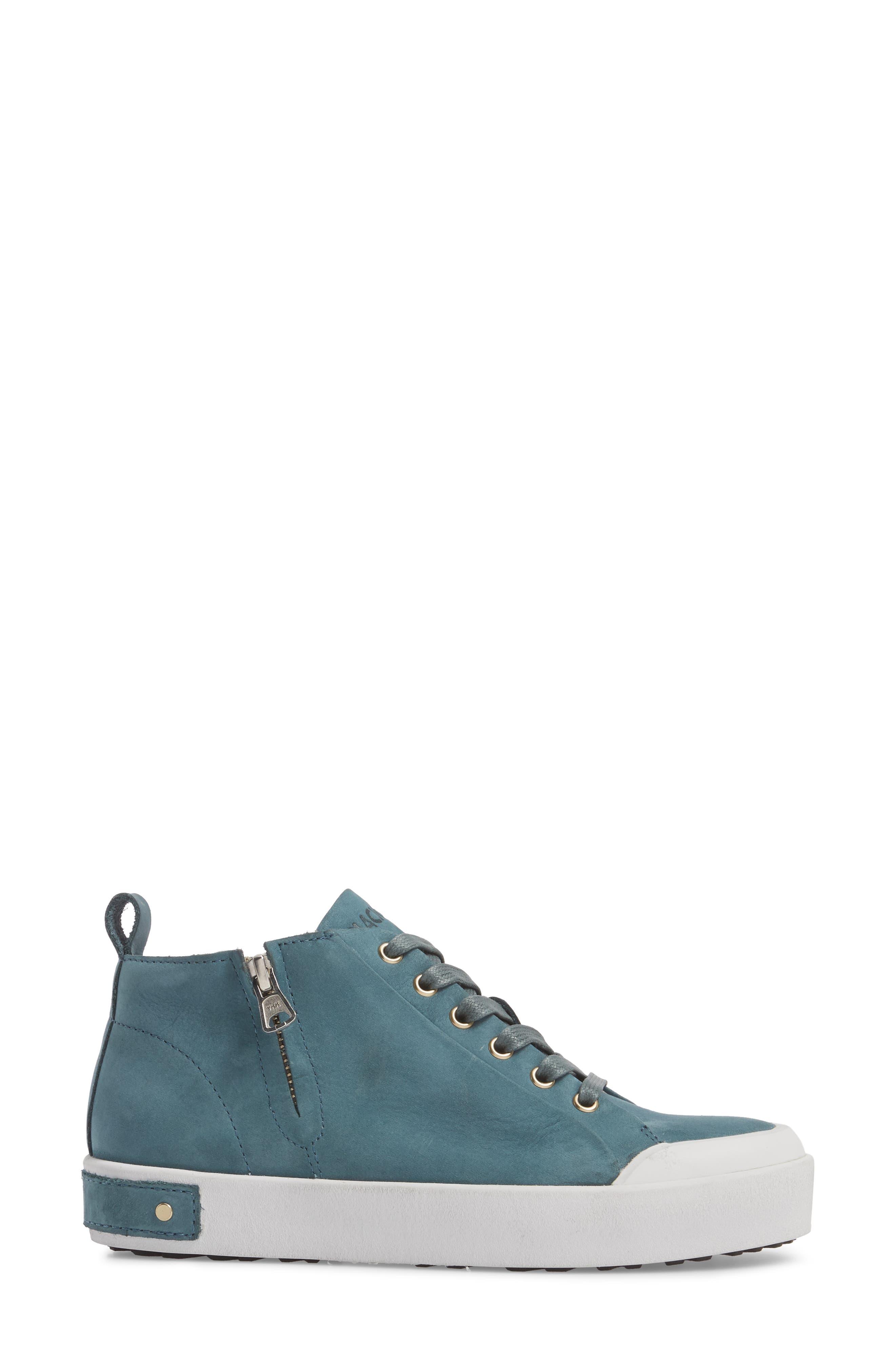 PL83 Mid Rise Sneaker,                             Alternate thumbnail 3, color,                             Mallard Blue Leather
