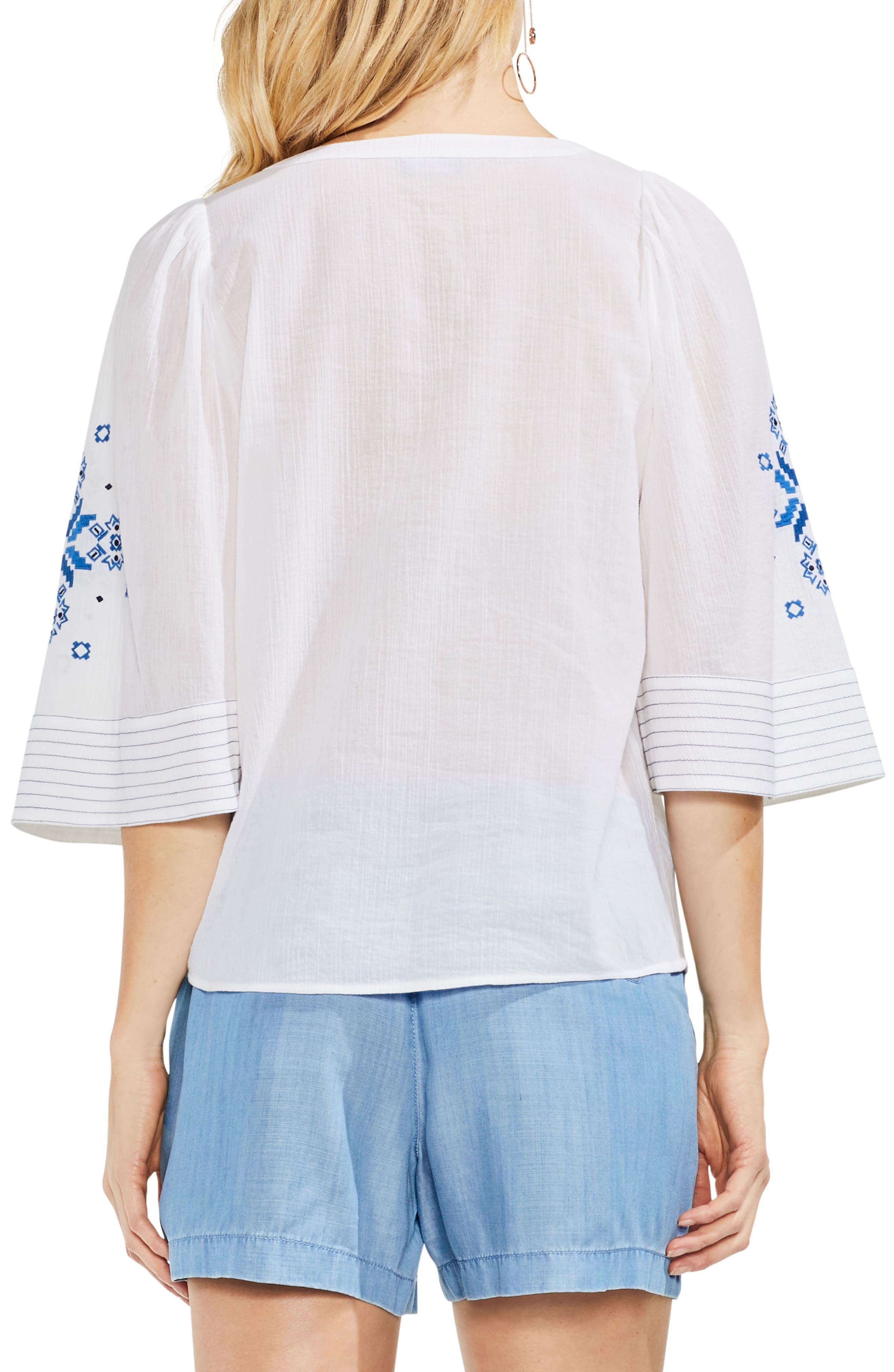 Bell Sleeve Embroidered Cotton Gauze Top,                             Alternate thumbnail 2, color,                             Ultra White