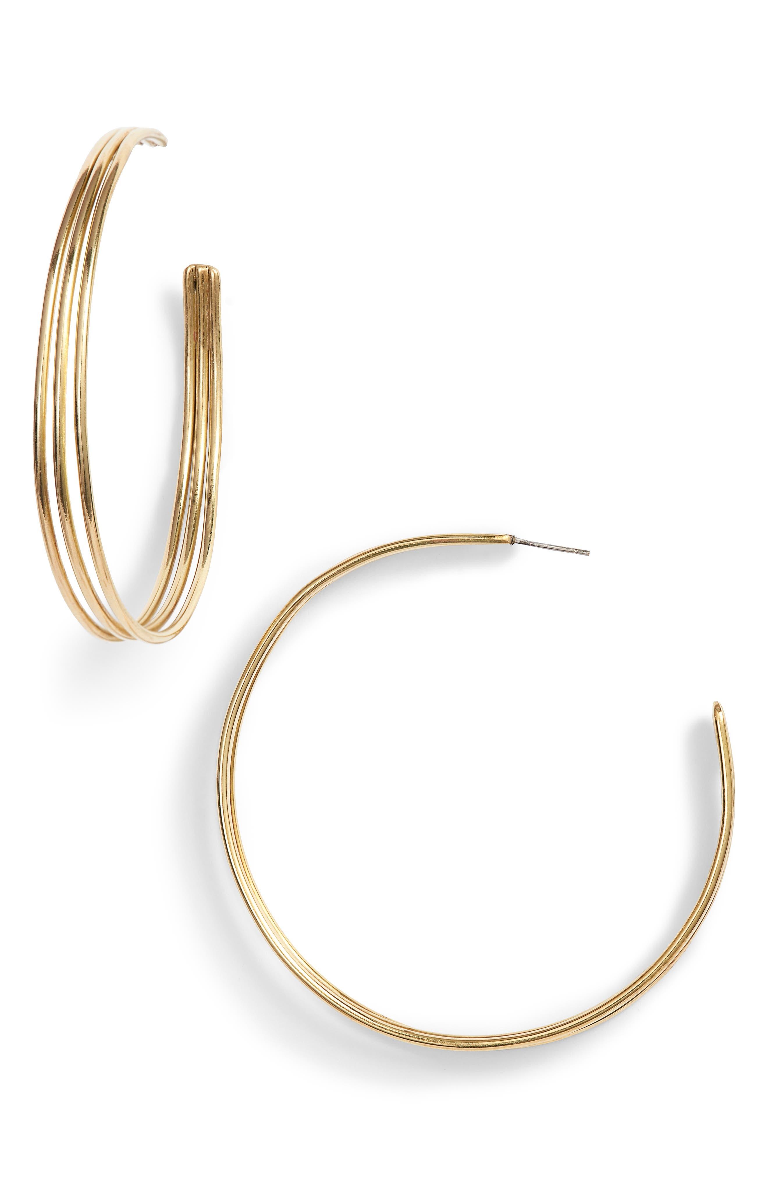 Maxi Triple Hoop Earrings,                         Main,                         color, Brass
