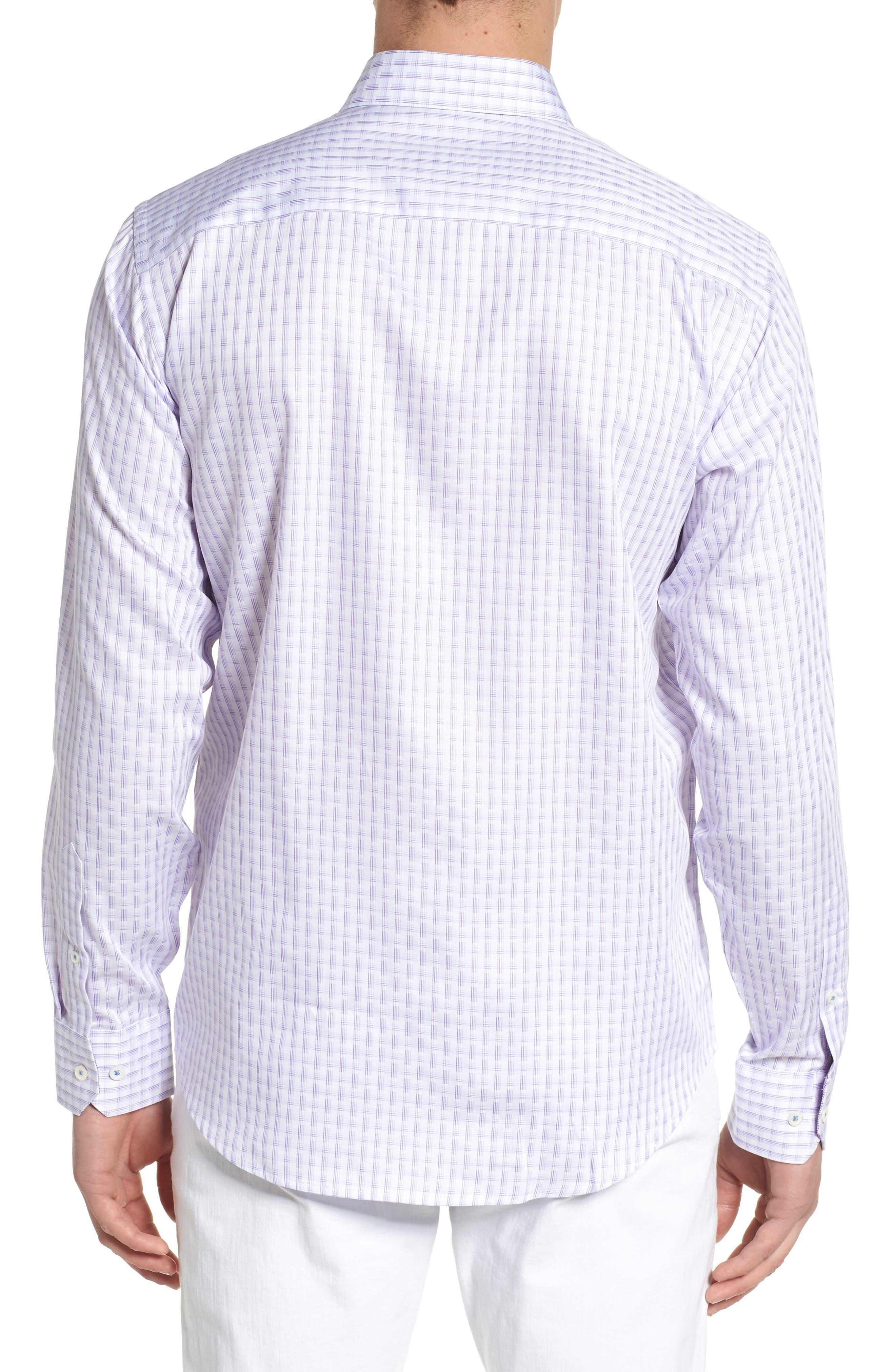 Modern Check Classic Fit Sport Shirt,                             Alternate thumbnail 2, color,                             Lilac