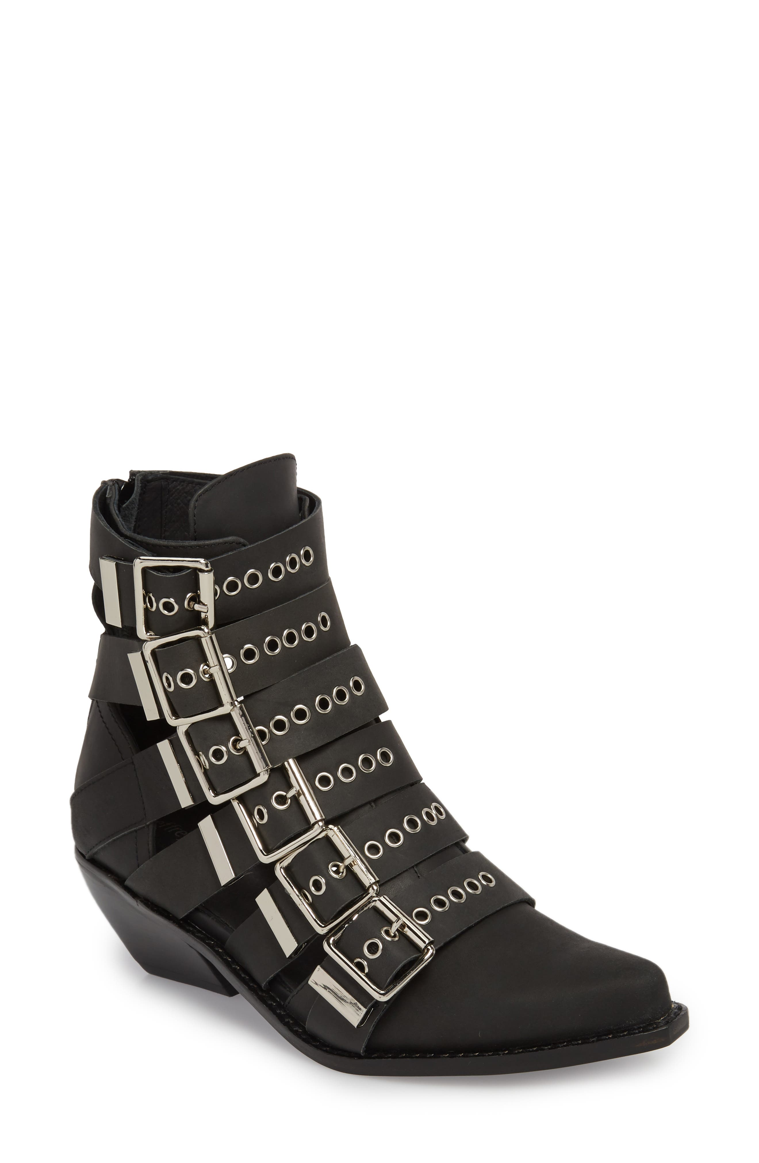 Disturbed Moto Buckle Bootie,                             Main thumbnail 1, color,                             Black Washed