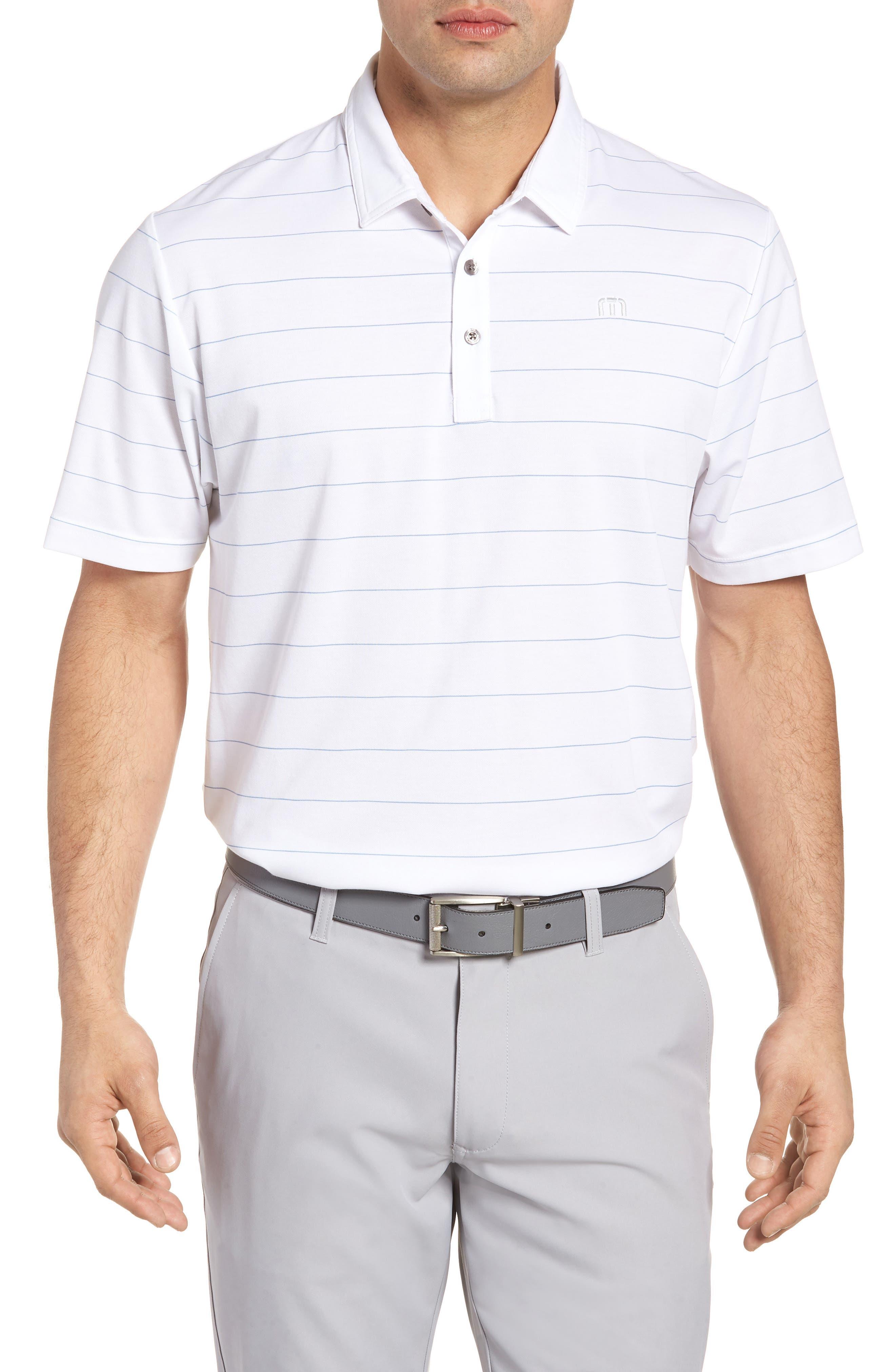 Stripe Cotton Blend Polo,                         Main,                         color, White