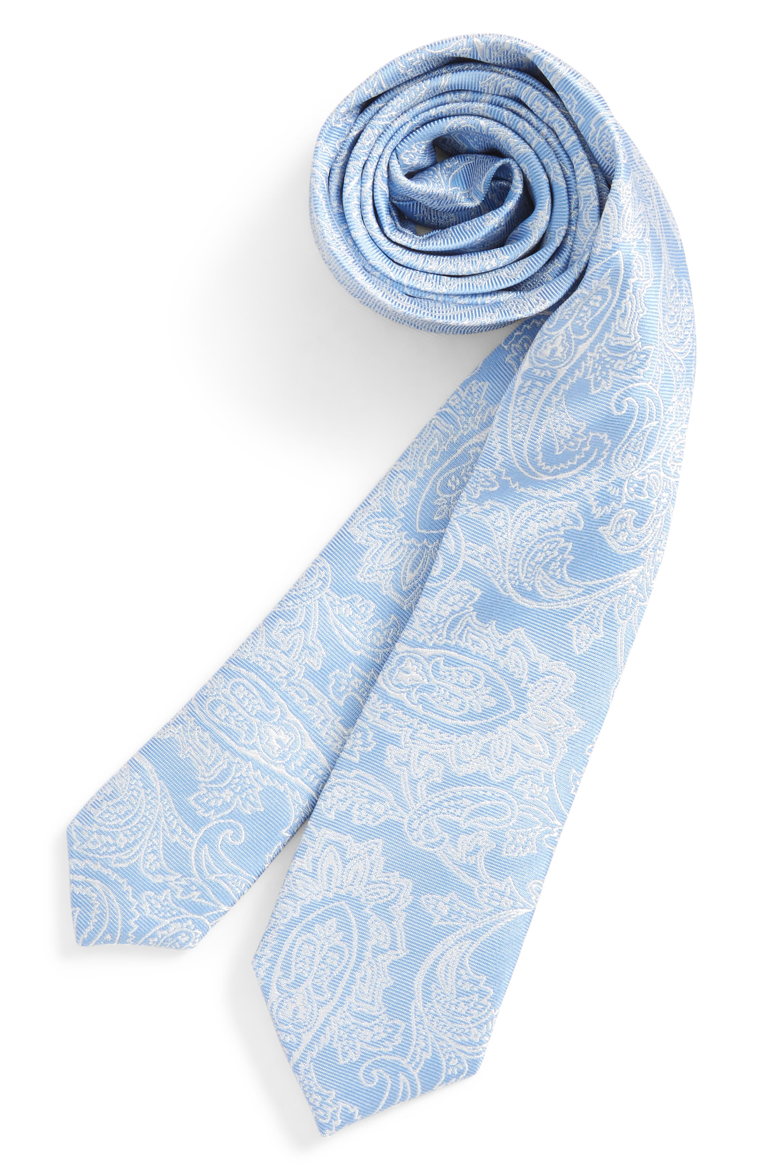 Paisley Drawing Silk Tie,                             Main thumbnail 1, color,                             Light Blue