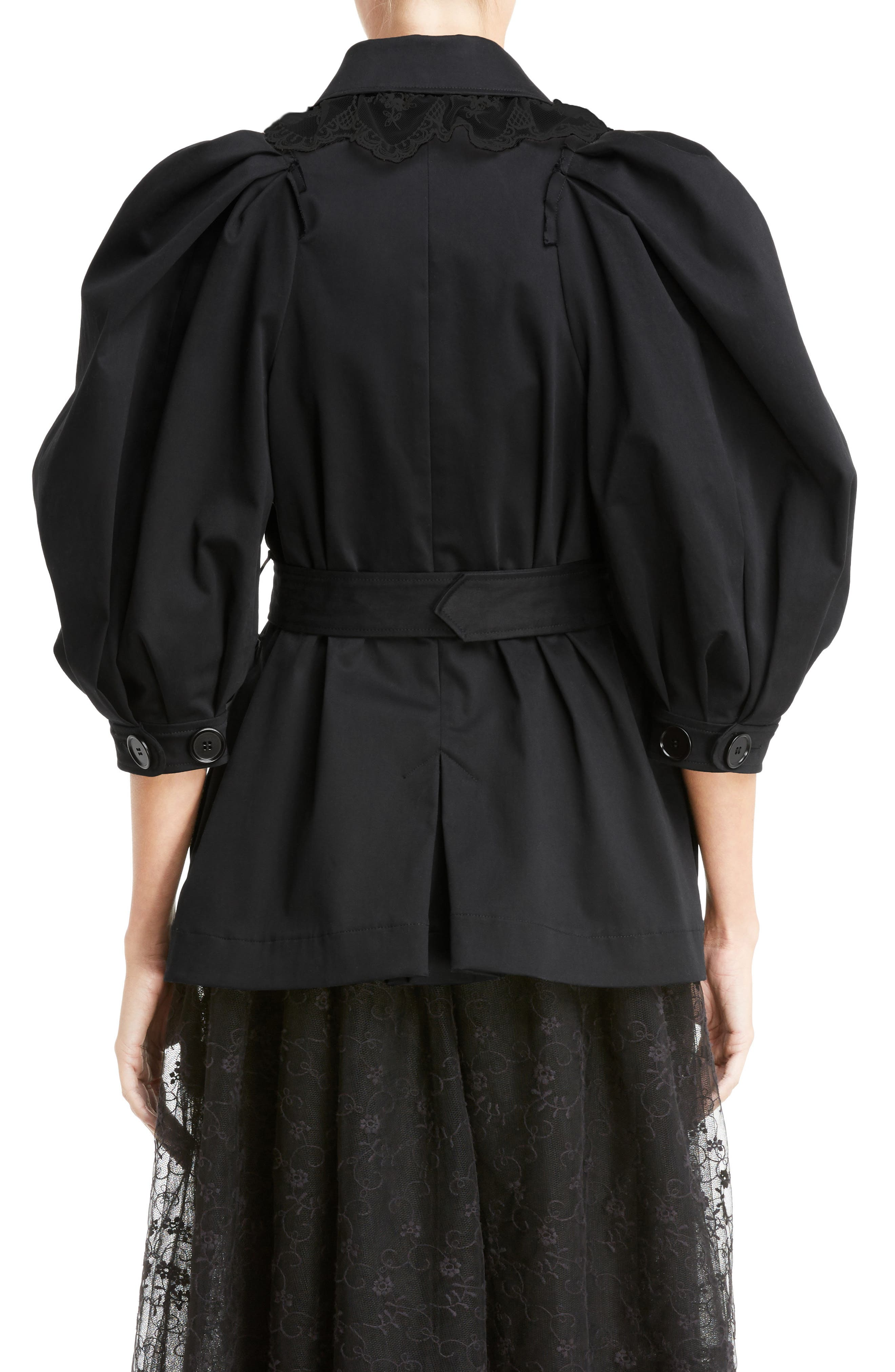 Lace Trim Pea Jacket,                             Alternate thumbnail 2, color,                             Black Black