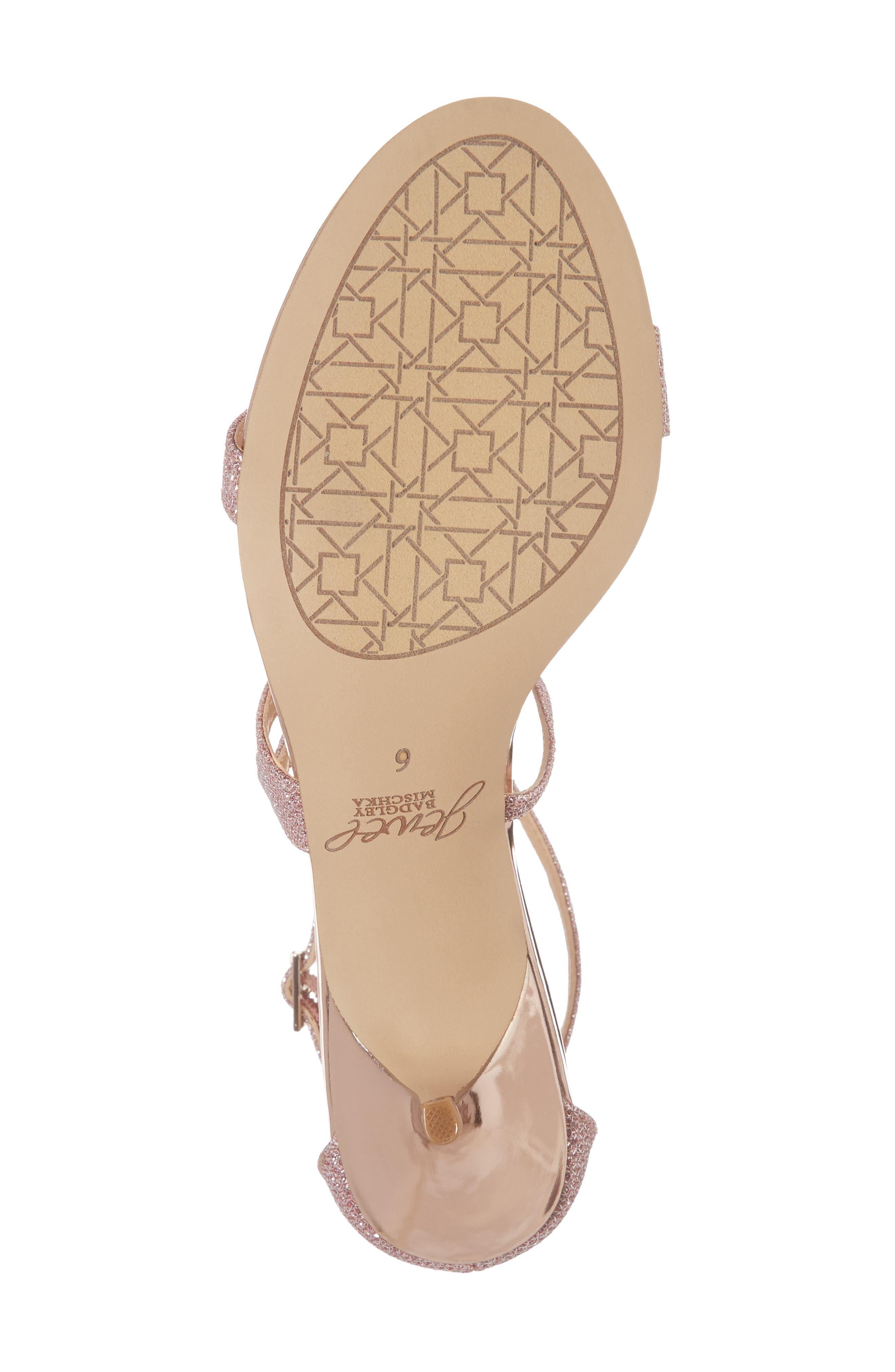 Gal Glitter Kitten Heel Sandal,                             Alternate thumbnail 6, color,                             Rose Gold Glitter Fabric