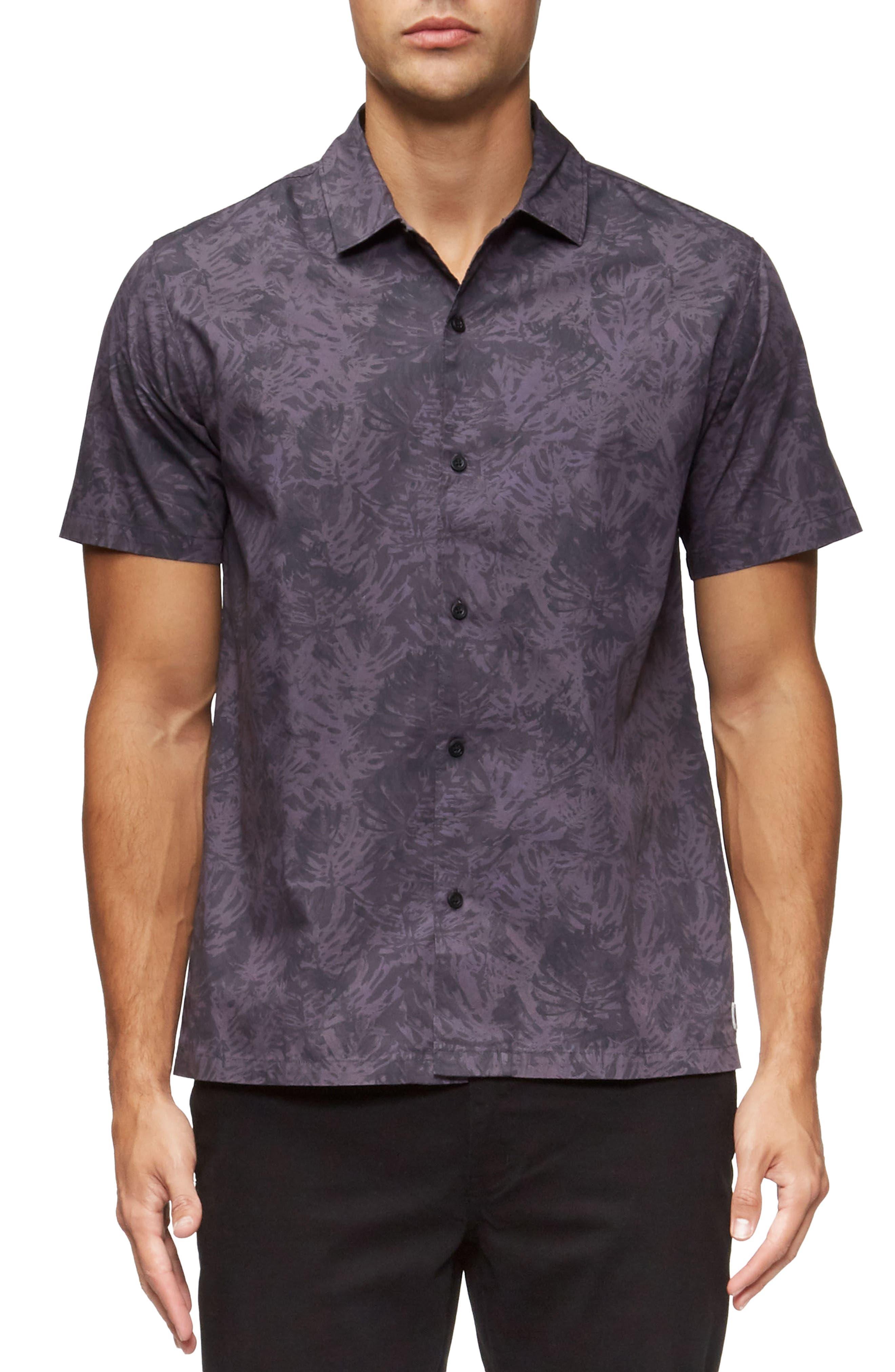 Villa Palms Short Sleeve Woven Shirt,                             Main thumbnail 1, color,                             Faded Purple Palms