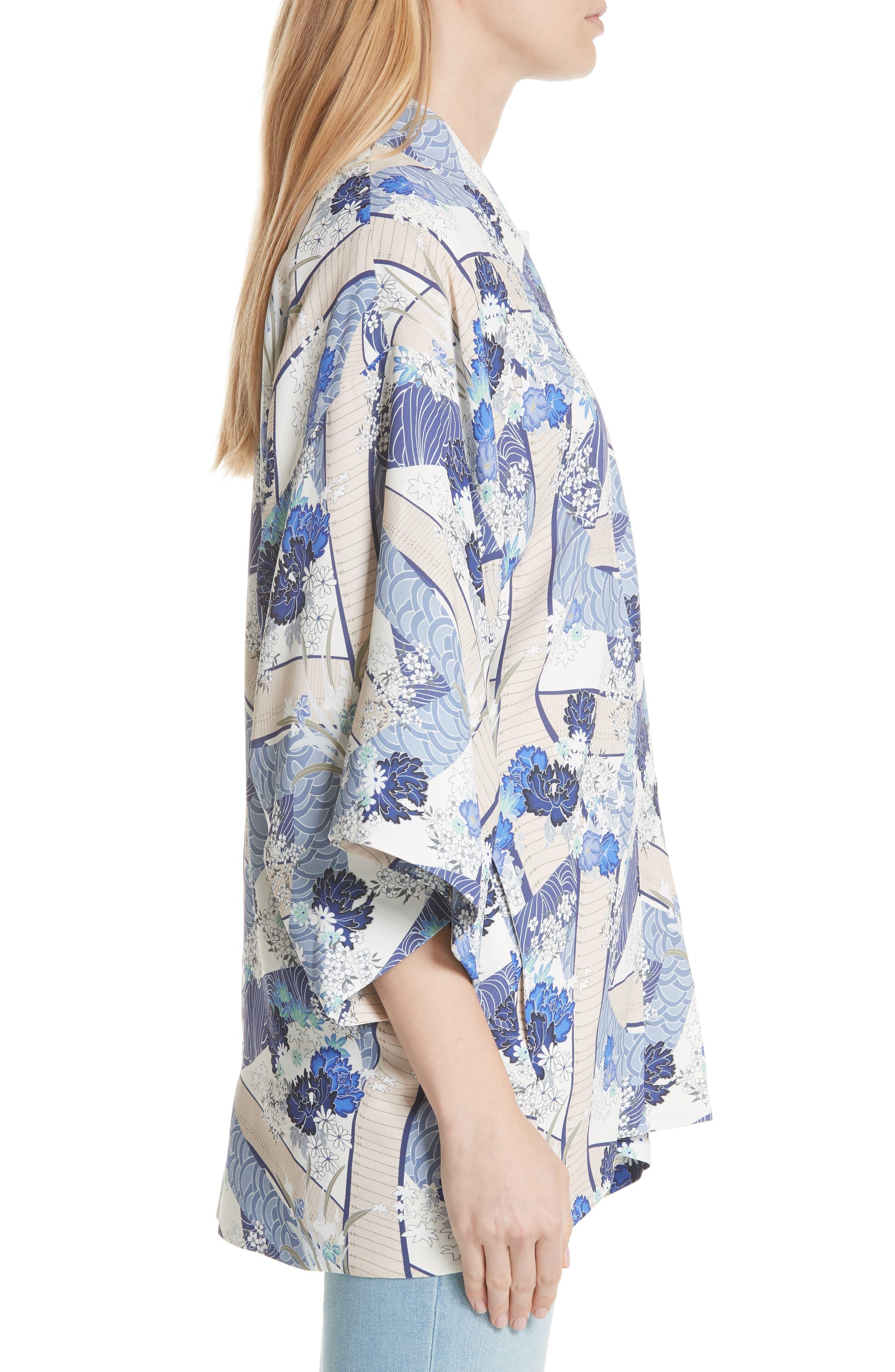 Drew Floral Print Kimono Jacket,                             Alternate thumbnail 3, color,                             Blue Floral