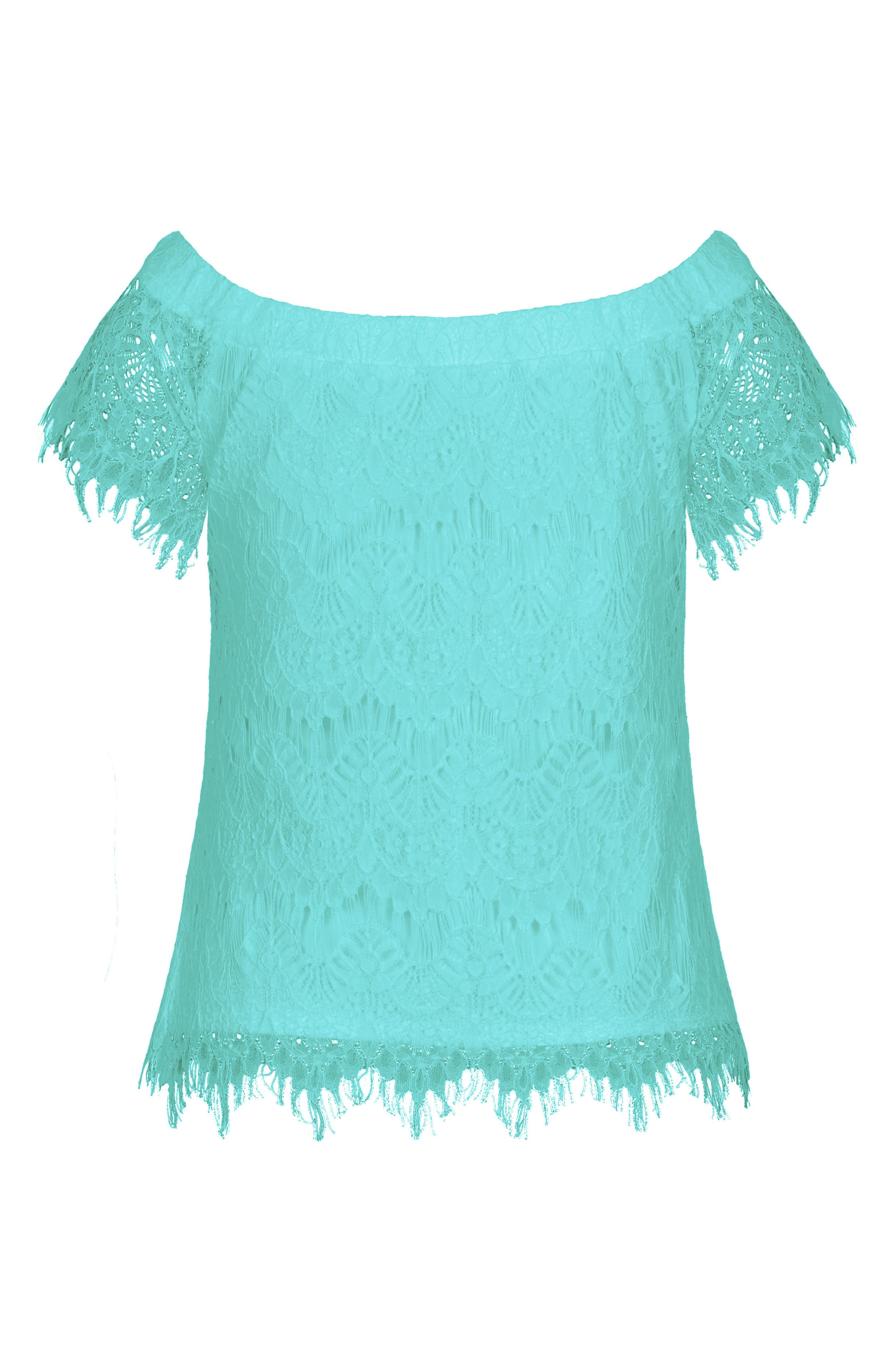 Lacy Off the Shoulder Top,                             Alternate thumbnail 3, color,                             Mint