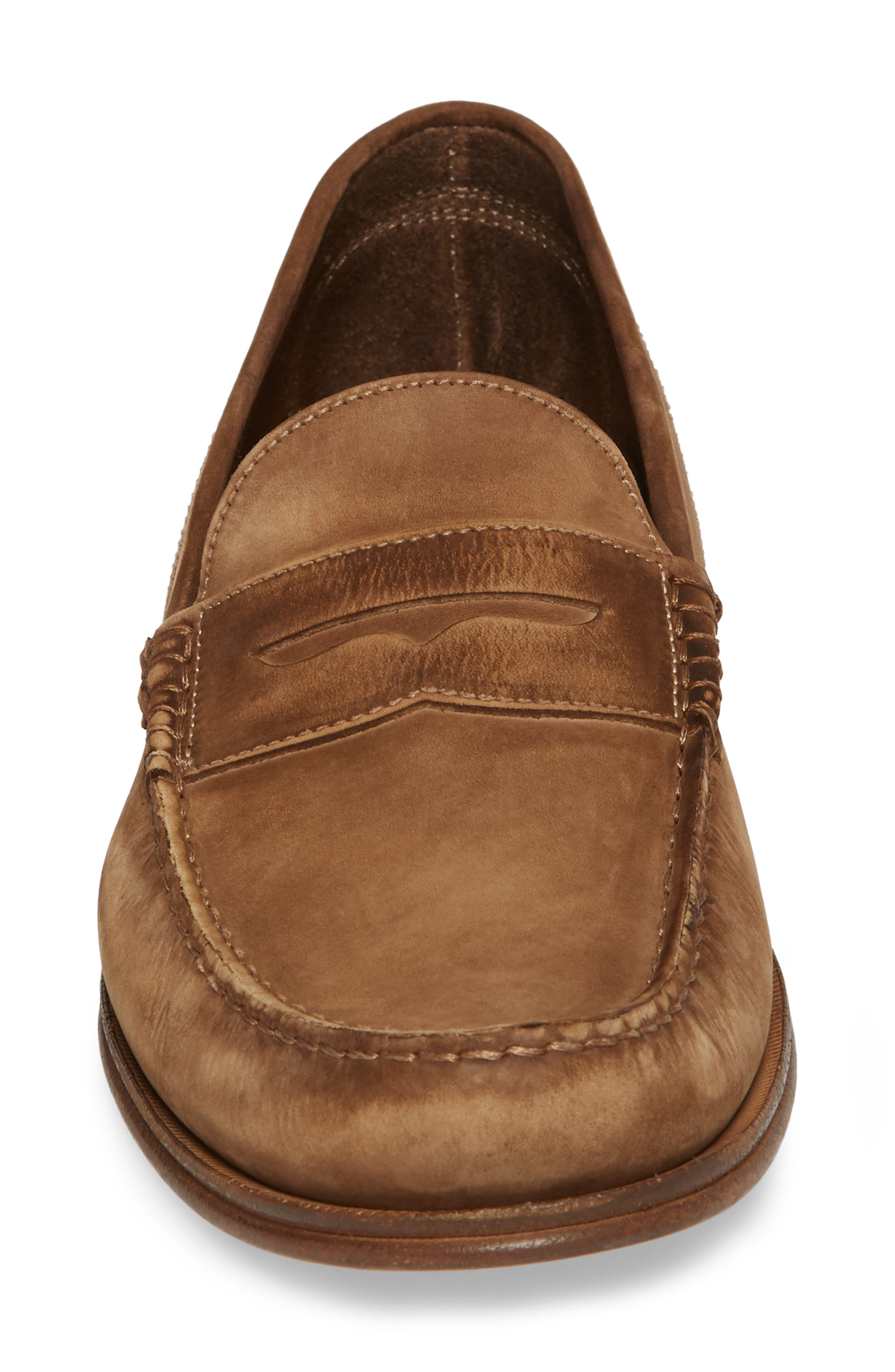 Nicola Penny Loafer,                             Alternate thumbnail 4, color,                             Chocolate Nubuck Leather