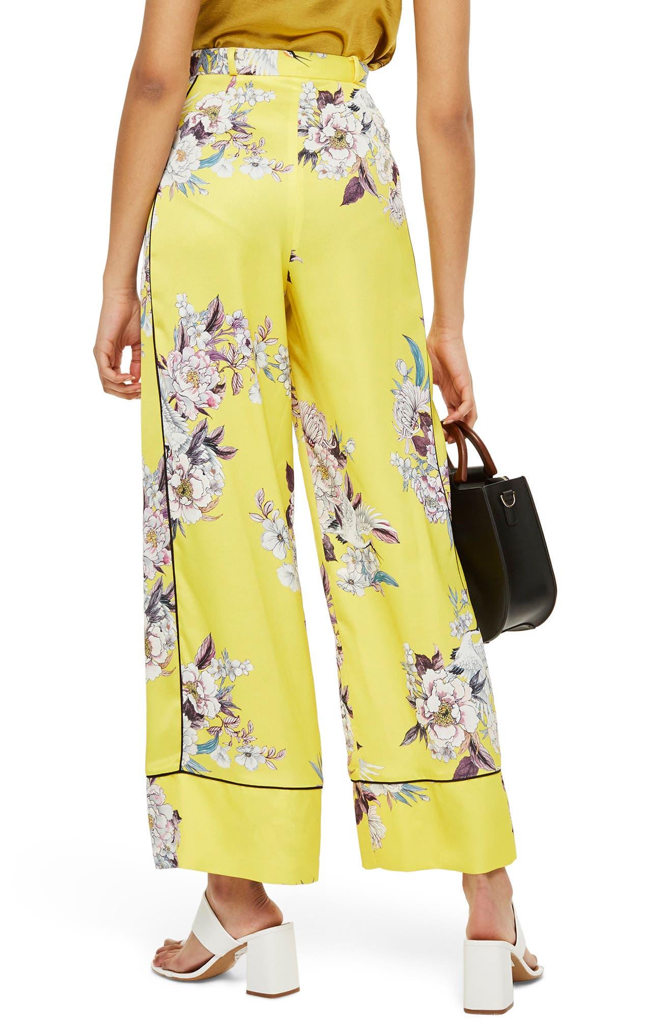 Heron Pajama Wide Leg Trousers,                             Alternate thumbnail 3, color,                             Yellow Multi