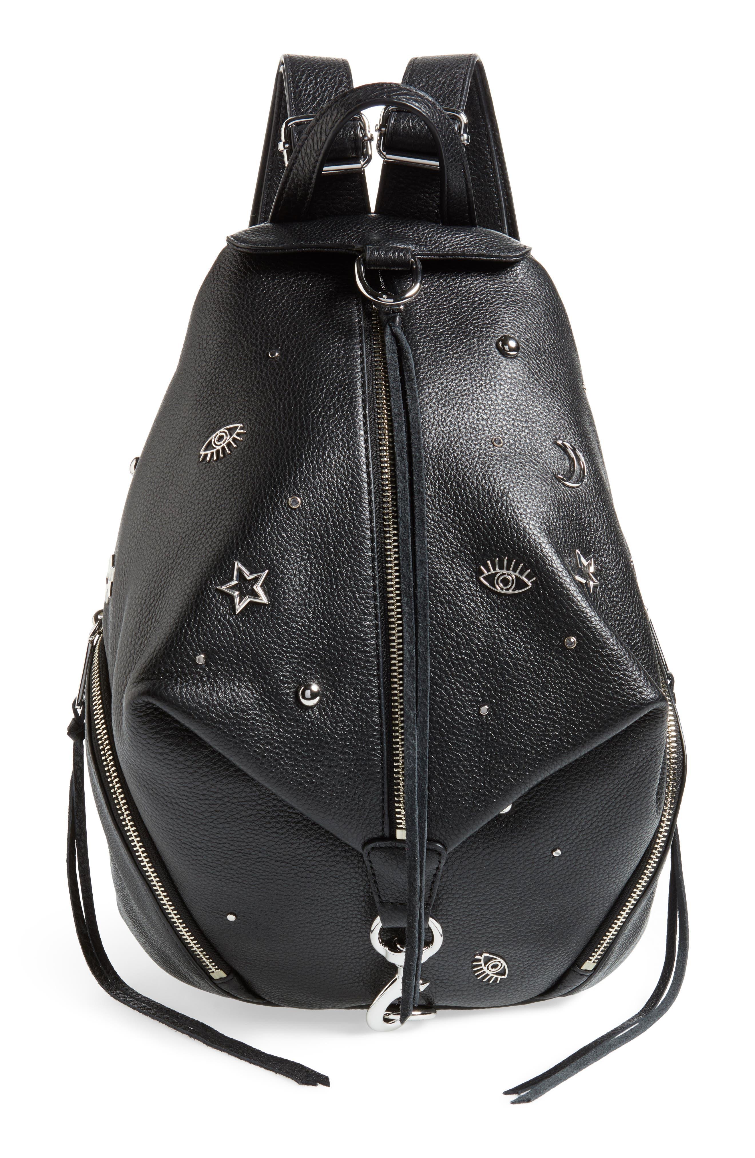 Julian Embellished Leather Backpack,                             Main thumbnail 1, color,                             Black