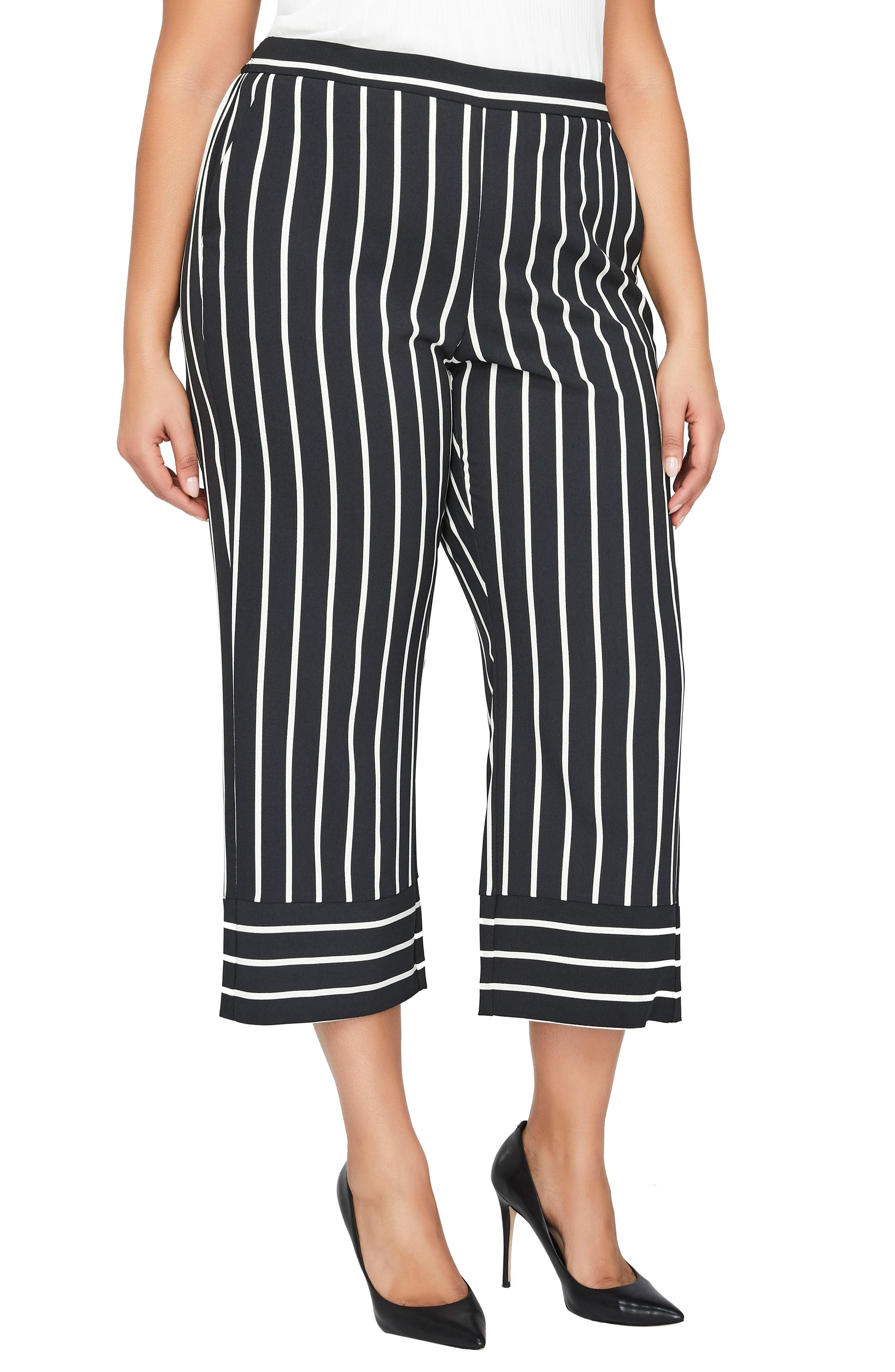 Stripe Wide Leg Crop Pants,                             Main thumbnail 1, color,                             Blanc De Blanc / Black Stripe