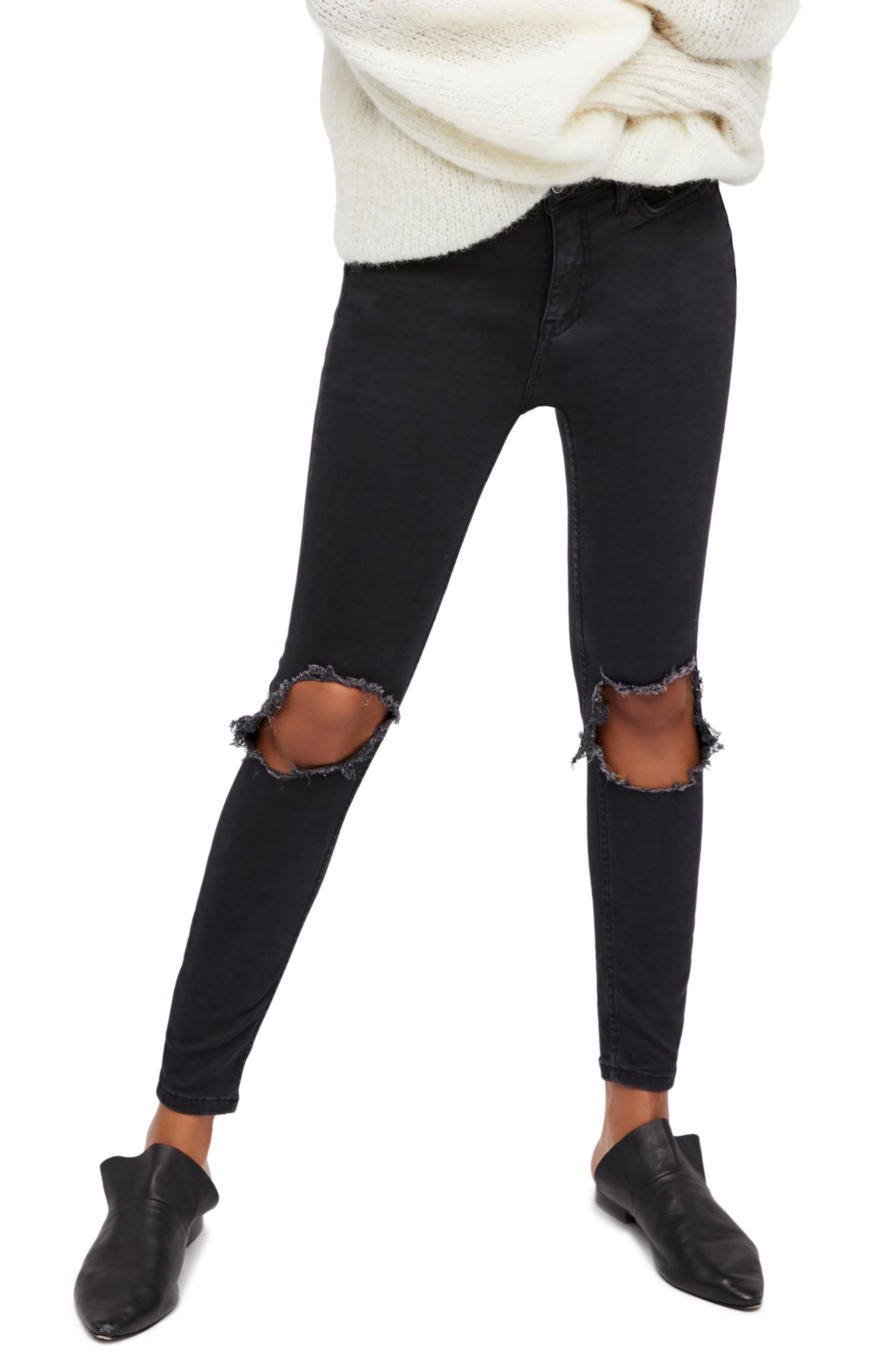 High Waist Ankle Skinny Jeans,                             Main thumbnail 1, color,                             Black