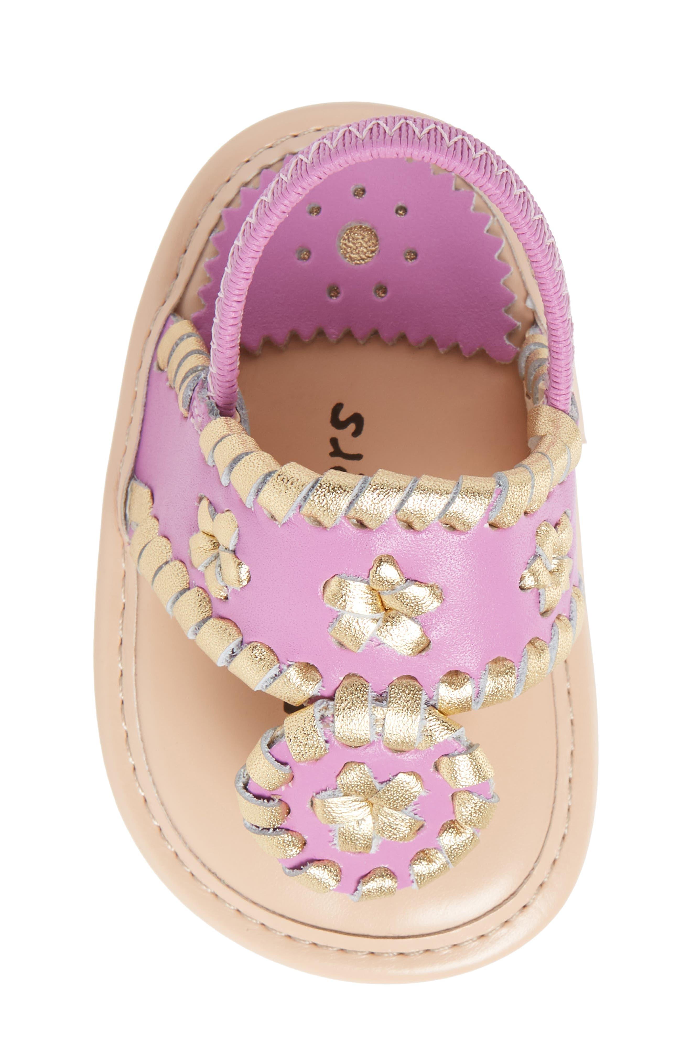 Hollis Sandal,                             Alternate thumbnail 6, color,                             Lavender Pink/ Gold Leather