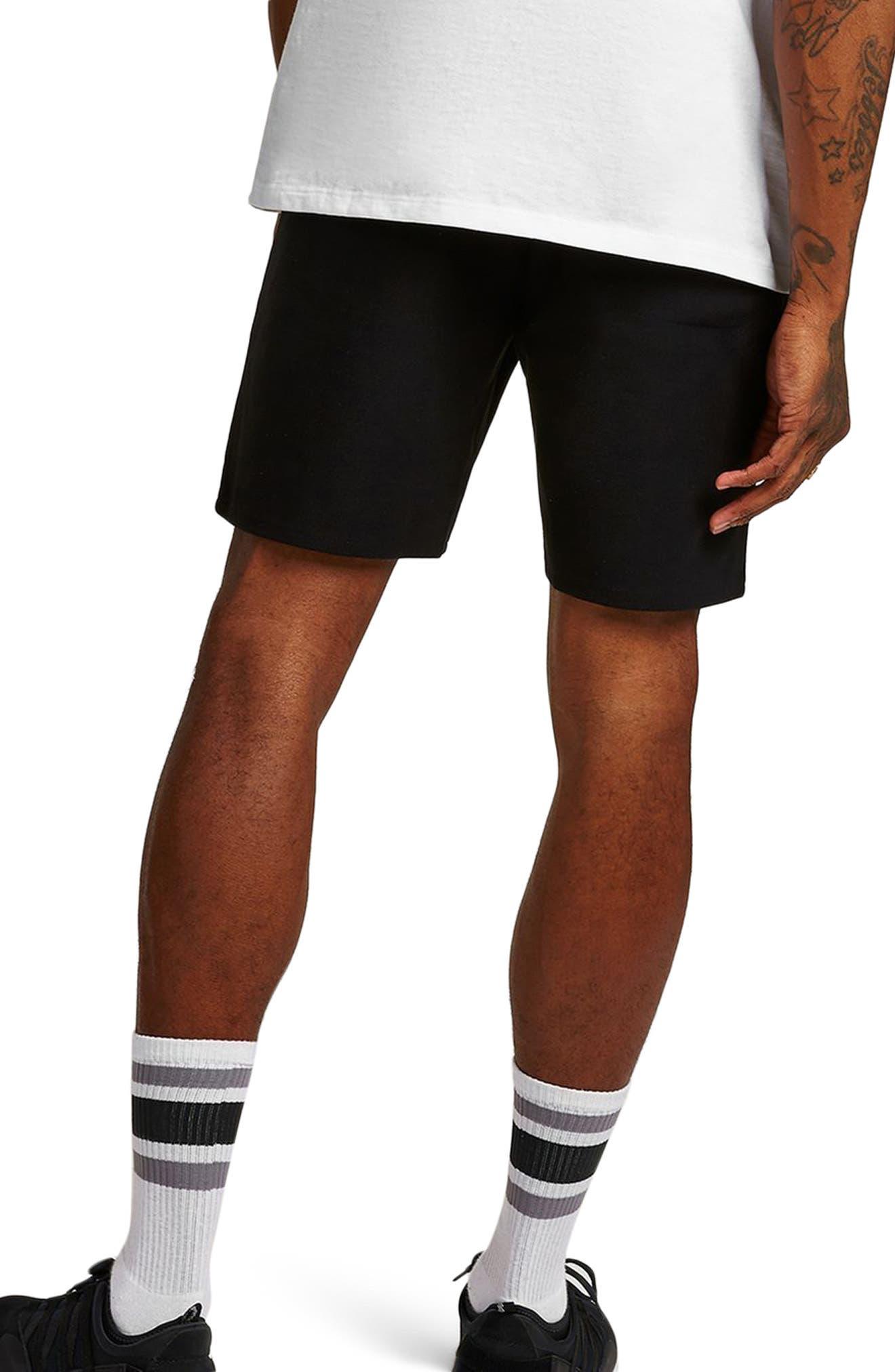 Slim Fit Twill Jersey Shorts,                             Alternate thumbnail 2, color,                             Black