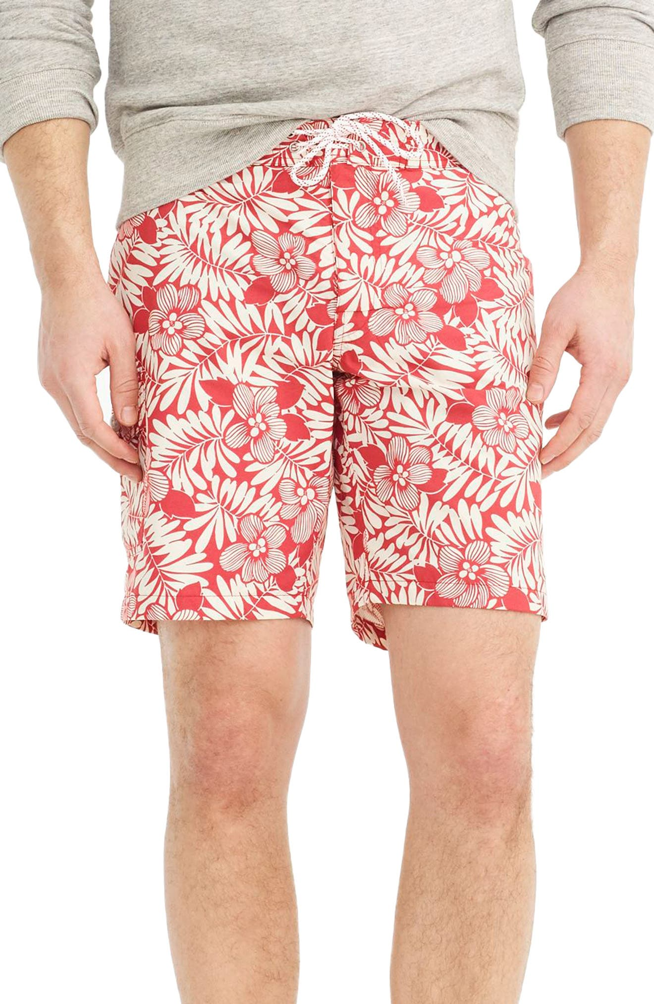 Fern Print Board Shorts,                             Main thumbnail 1, color,                             Red Ivory