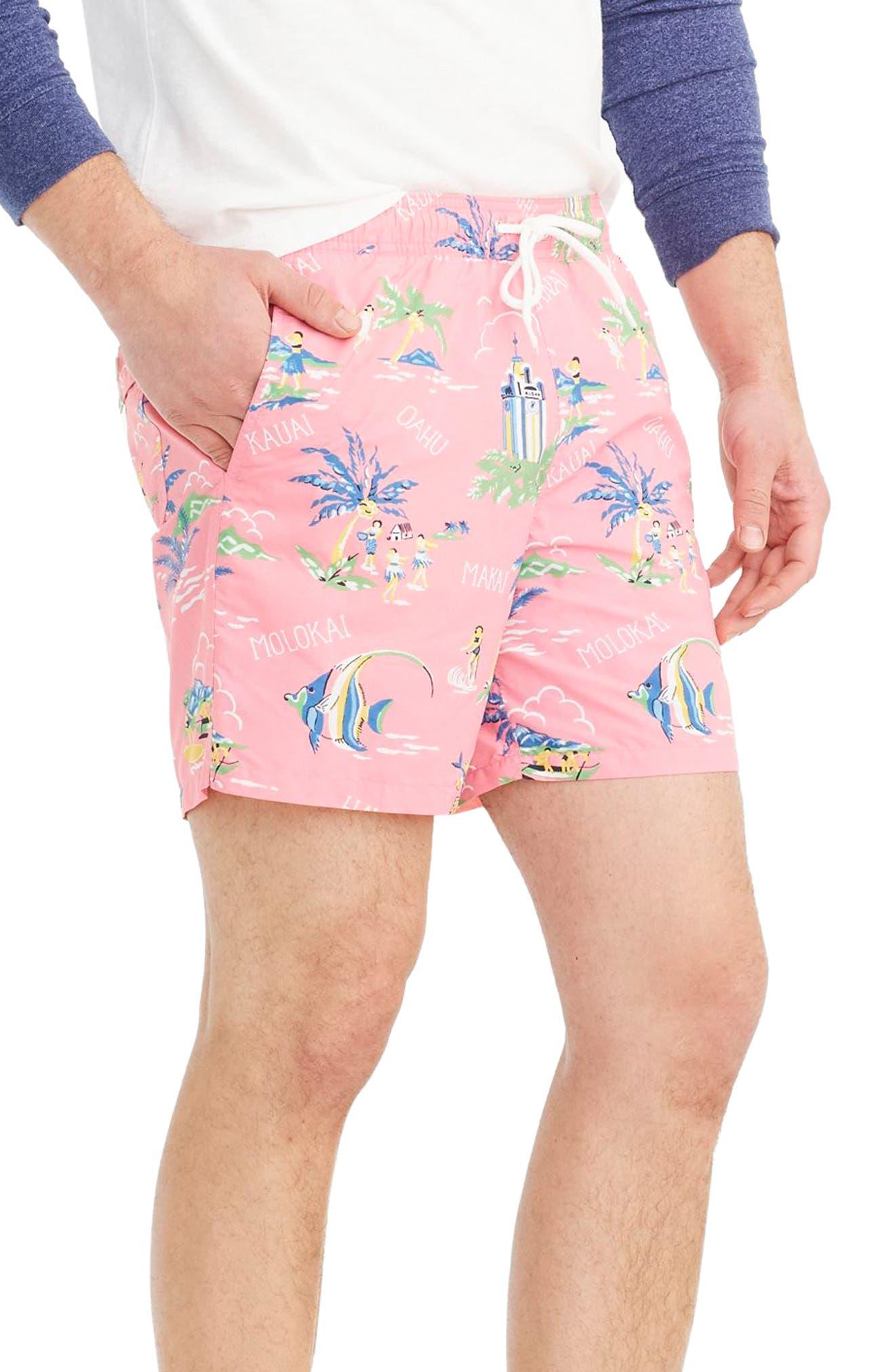 J.Crew Hawaii Print Swim Trunks,                             Alternate thumbnail 3, color,                             Pink Seas