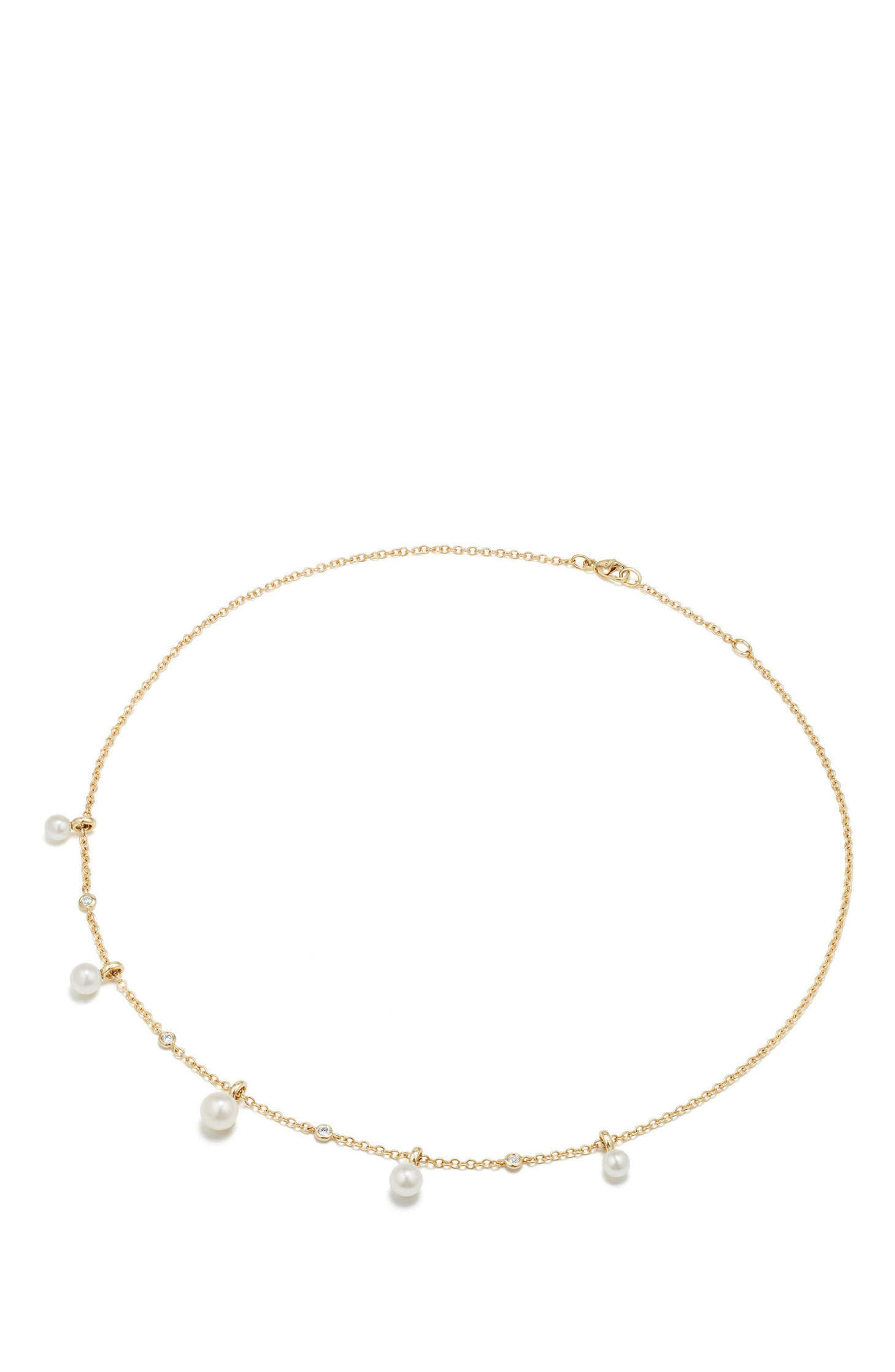 Petite Perle Pearl & Diamond Fringe Necklace in 18k Gold,                             Alternate thumbnail 2, color,                             Gold/ Diamond/ Pearl