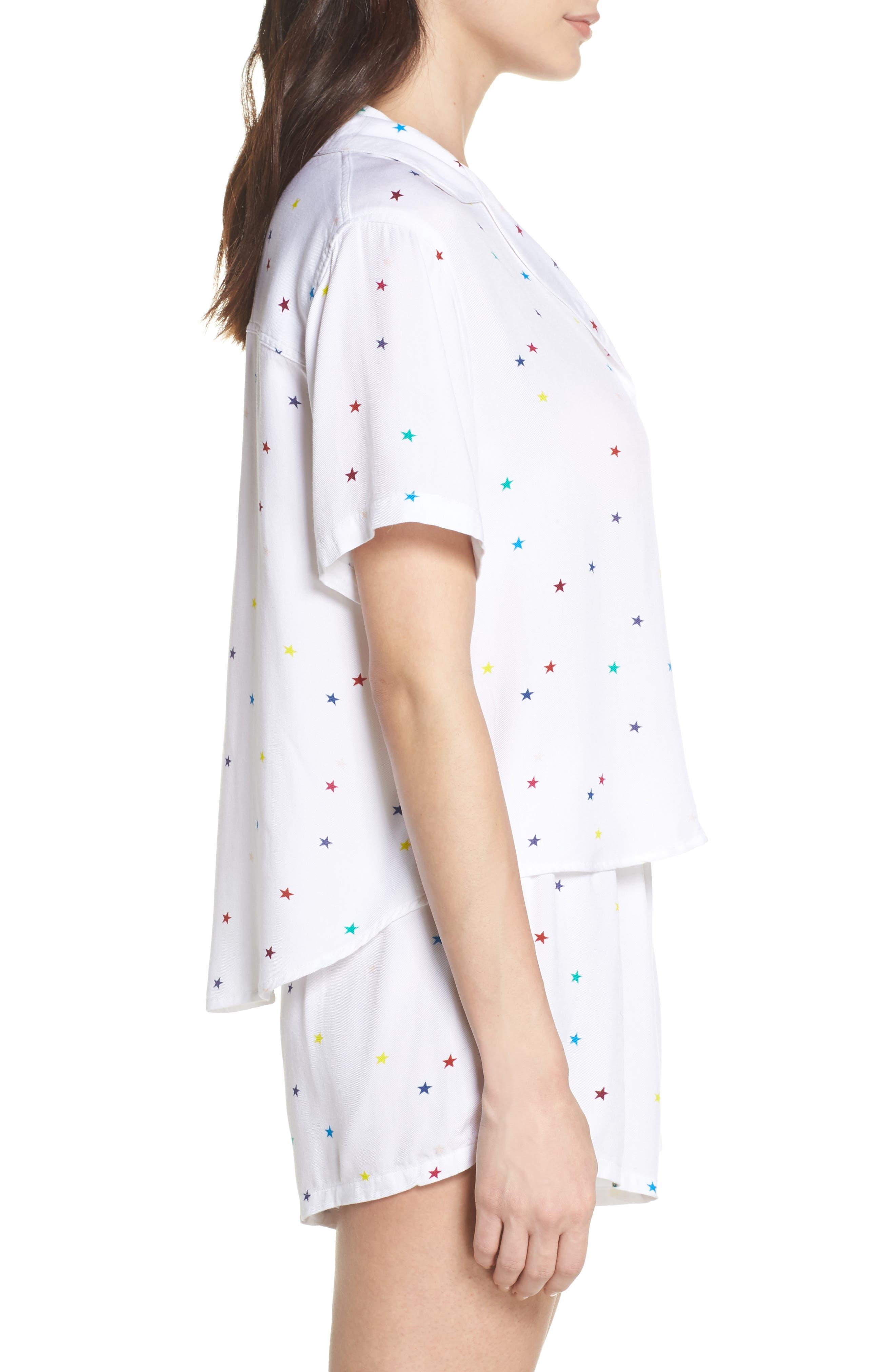 Star Print Short Pajamas,                             Alternate thumbnail 3, color,                             Rainbow Stars On White