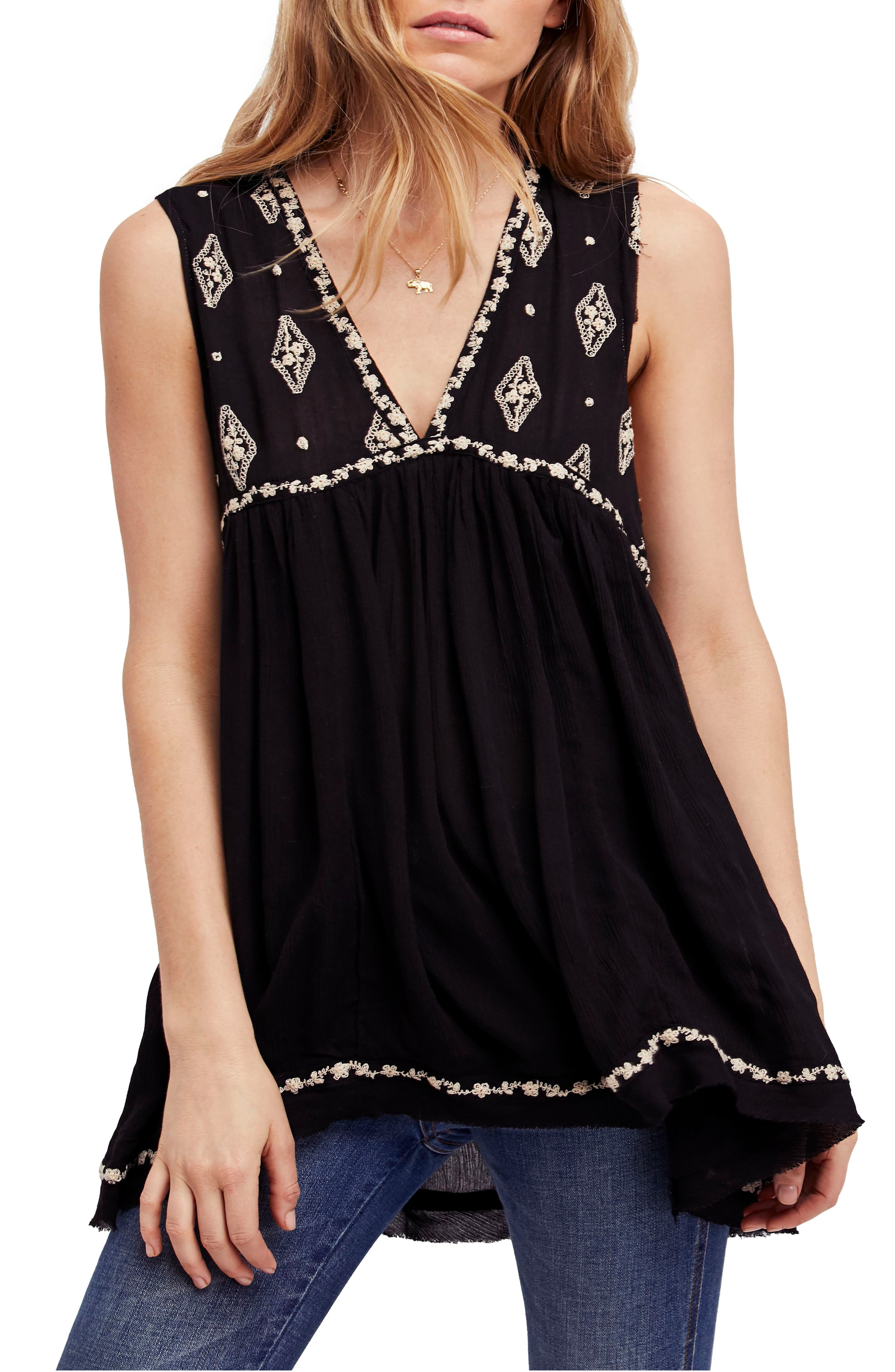 Embroidered Top,                             Main thumbnail 1, color,                             Black
