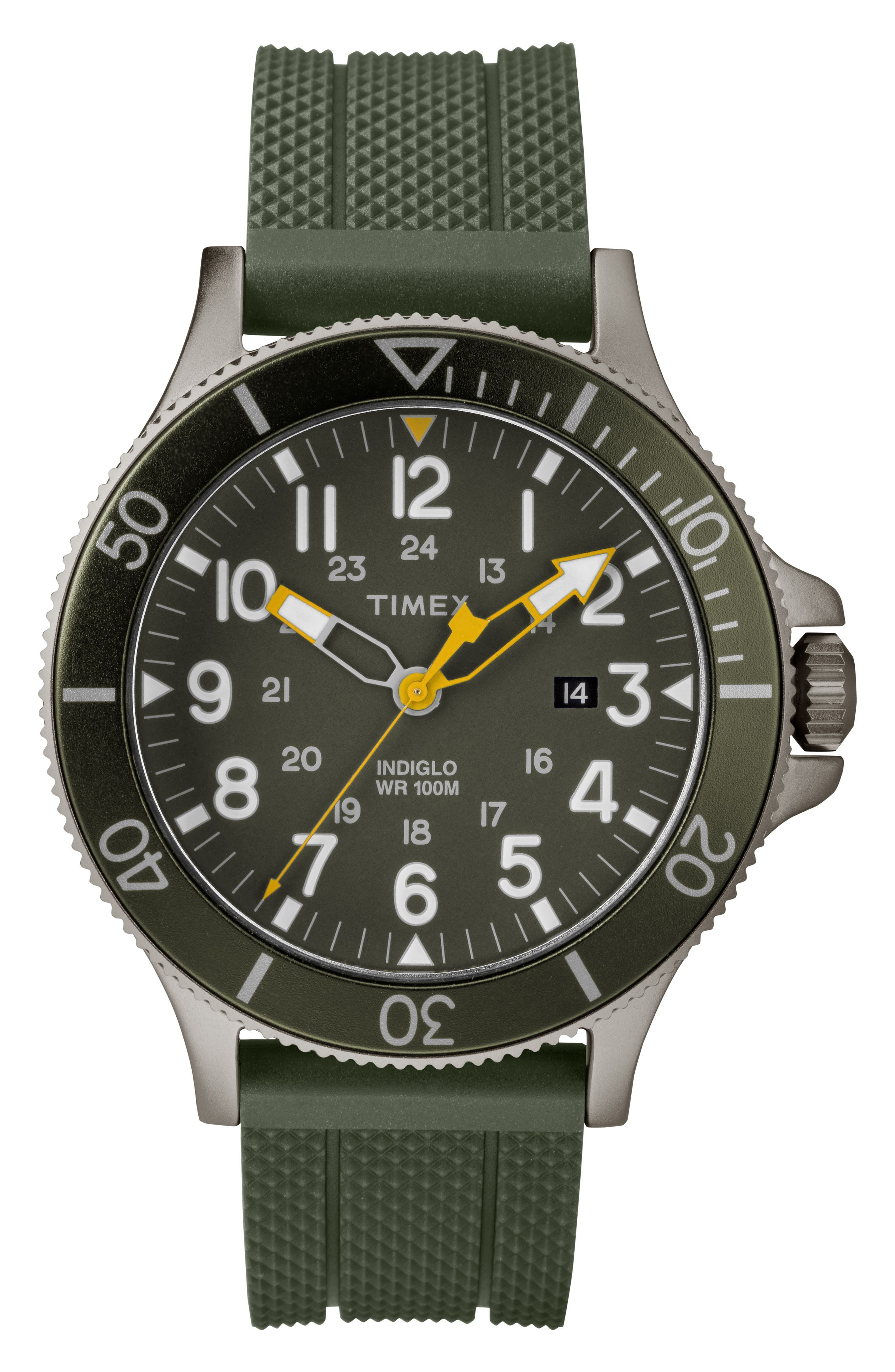 Allied Silicone Strap Watch, 43mm,                             Main thumbnail 1, color,                             Olive/ Grey