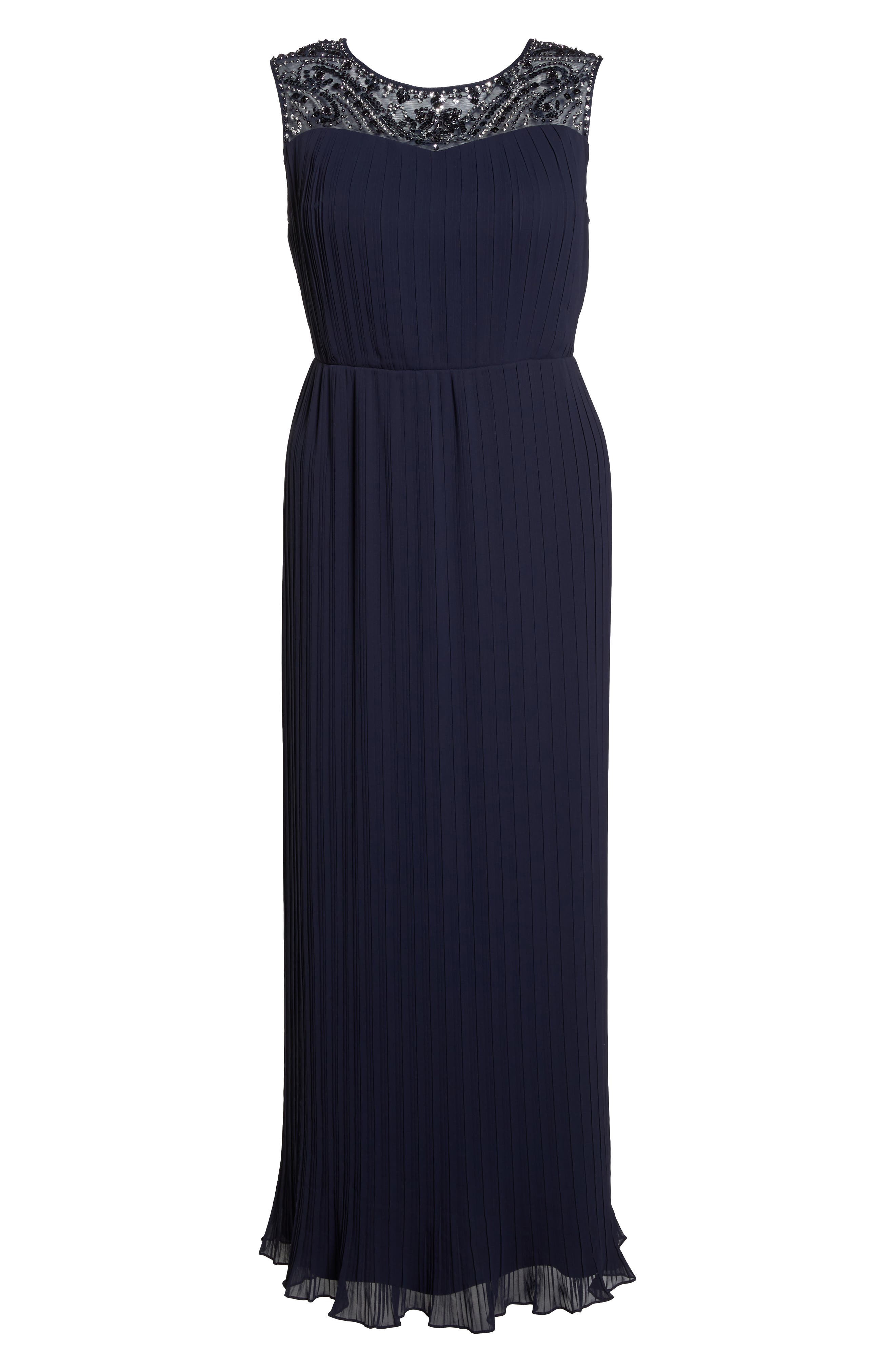 Embellished Illusion Pleated Gown,                             Alternate thumbnail 6, color,                             Navy
