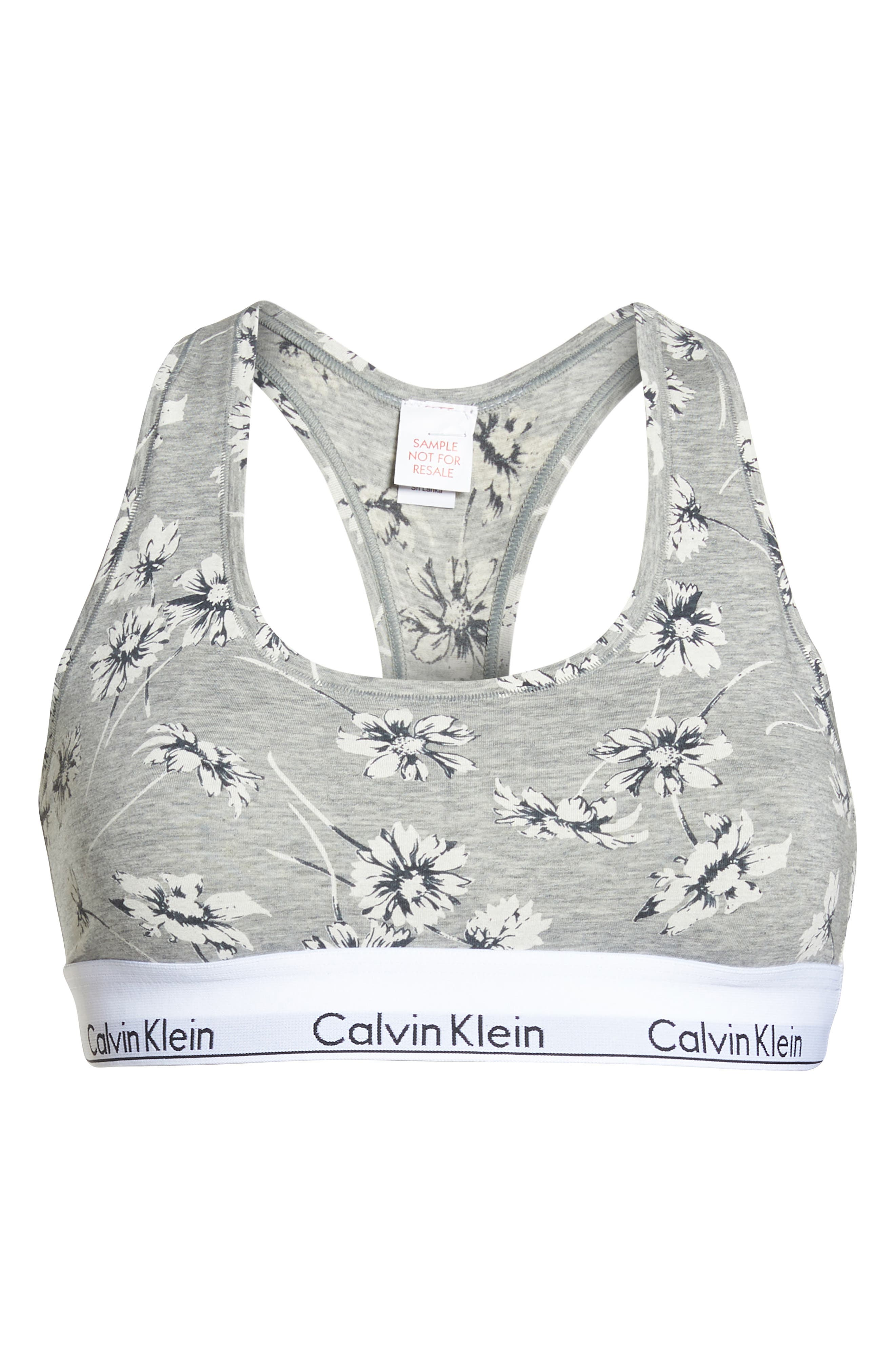 Modern Cotton Collection Cotton Blend Racerback Bralette,                             Alternate thumbnail 8, color,                             Scattered Posy Grey Htr