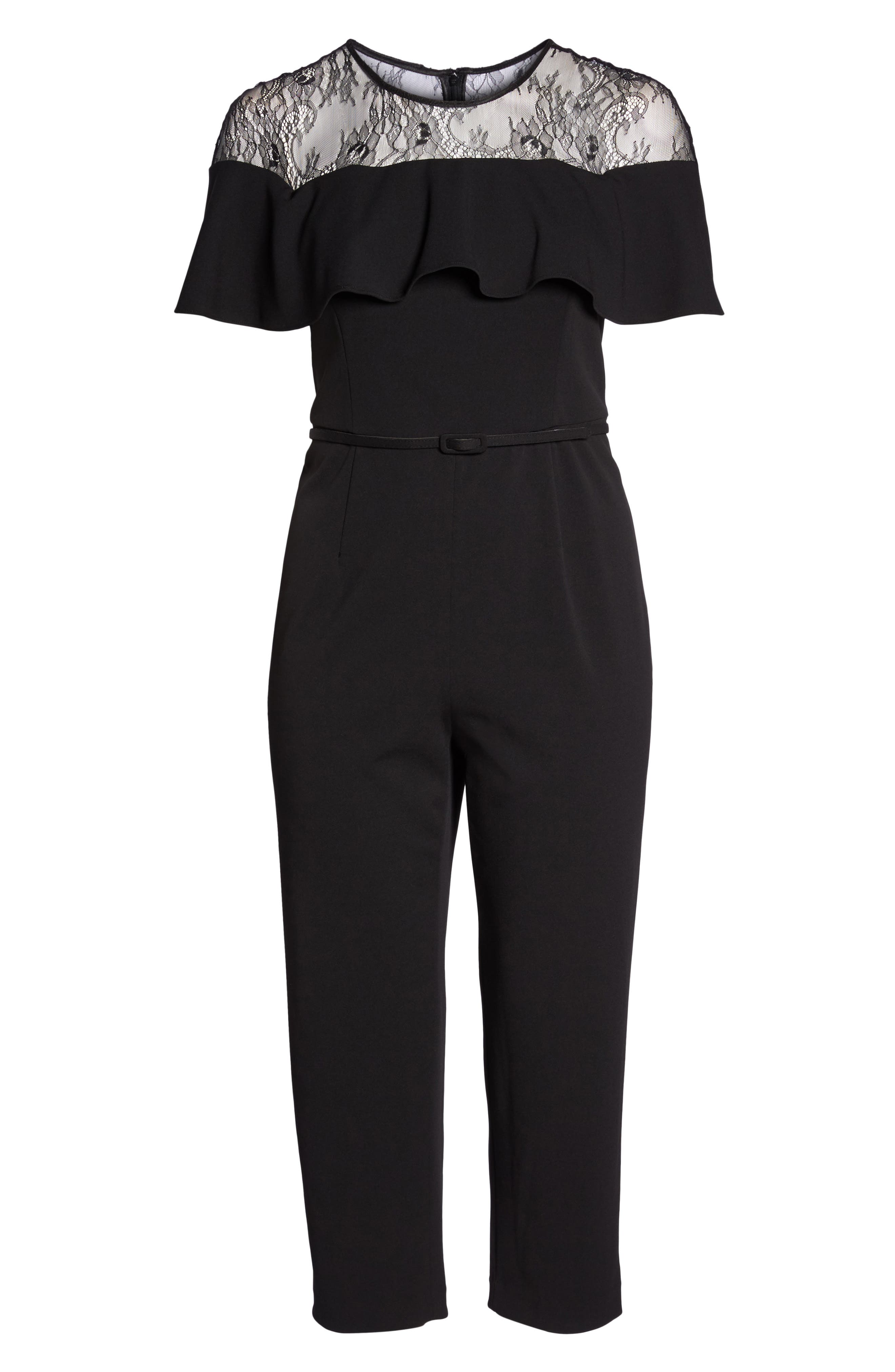 Lace Illusion Ruffle Jumpsuit,                             Alternate thumbnail 6, color,                             Black