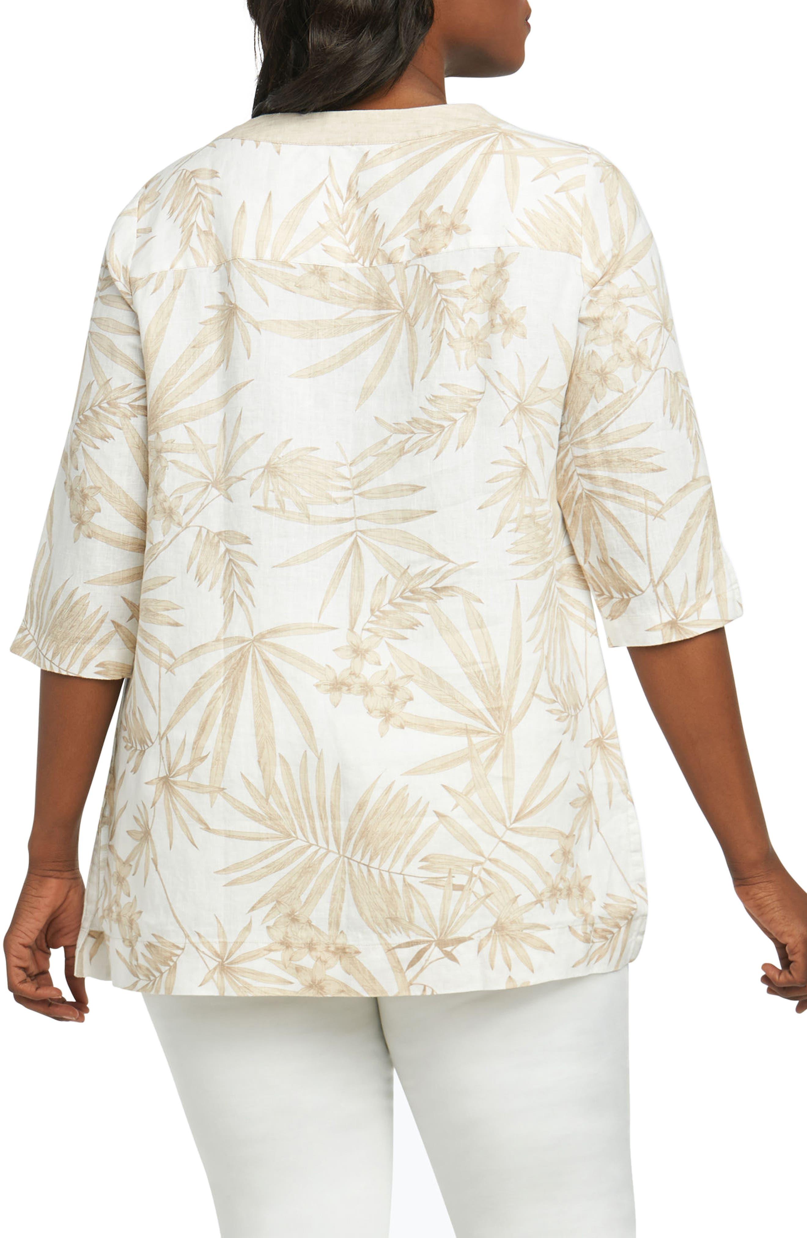 Toni Palm Linen Shirt,                             Alternate thumbnail 2, color,                             Flax