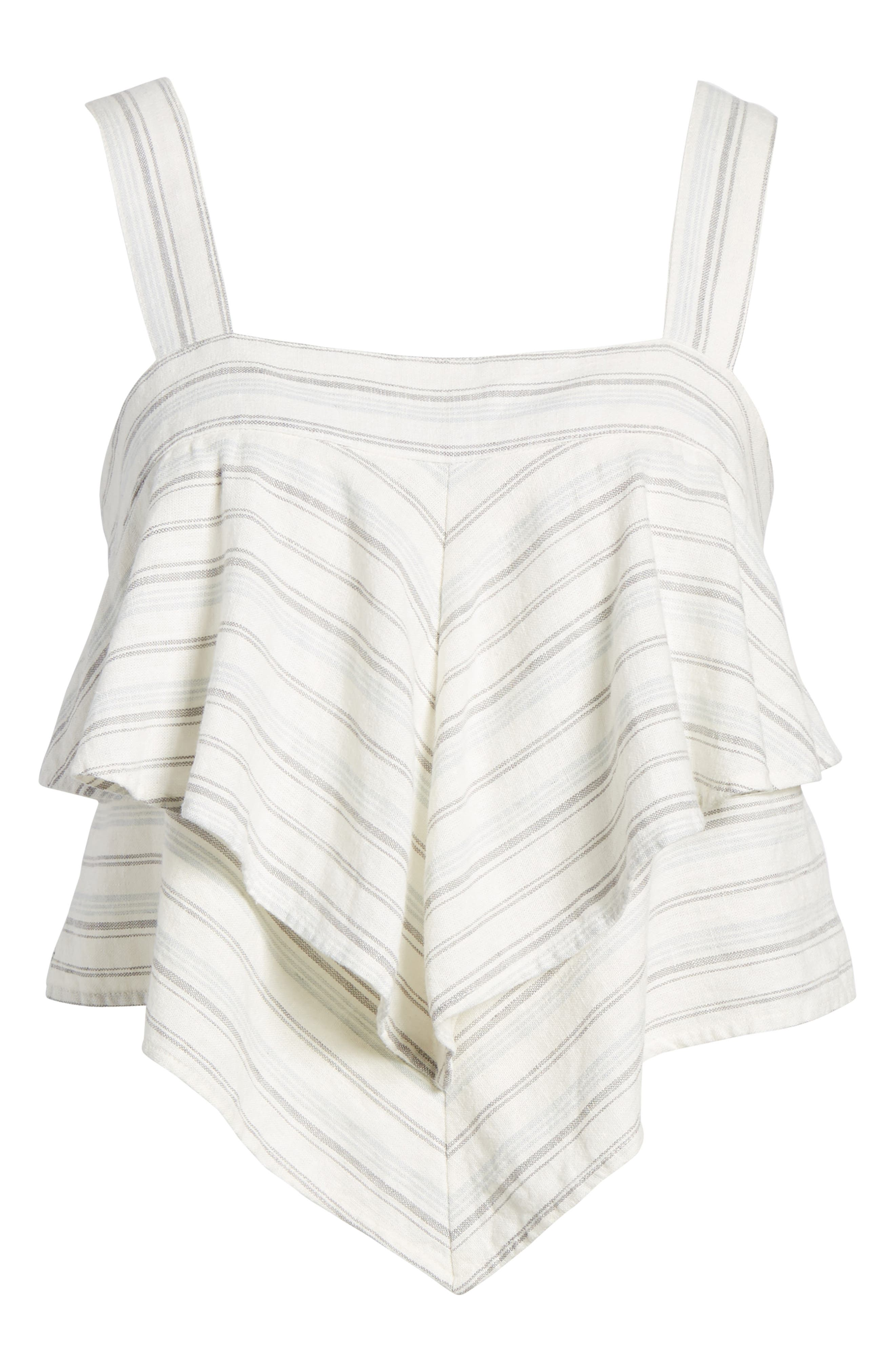 Tiered Linen Crop Top,                             Alternate thumbnail 7, color,                             Ivory Verigated Stripe