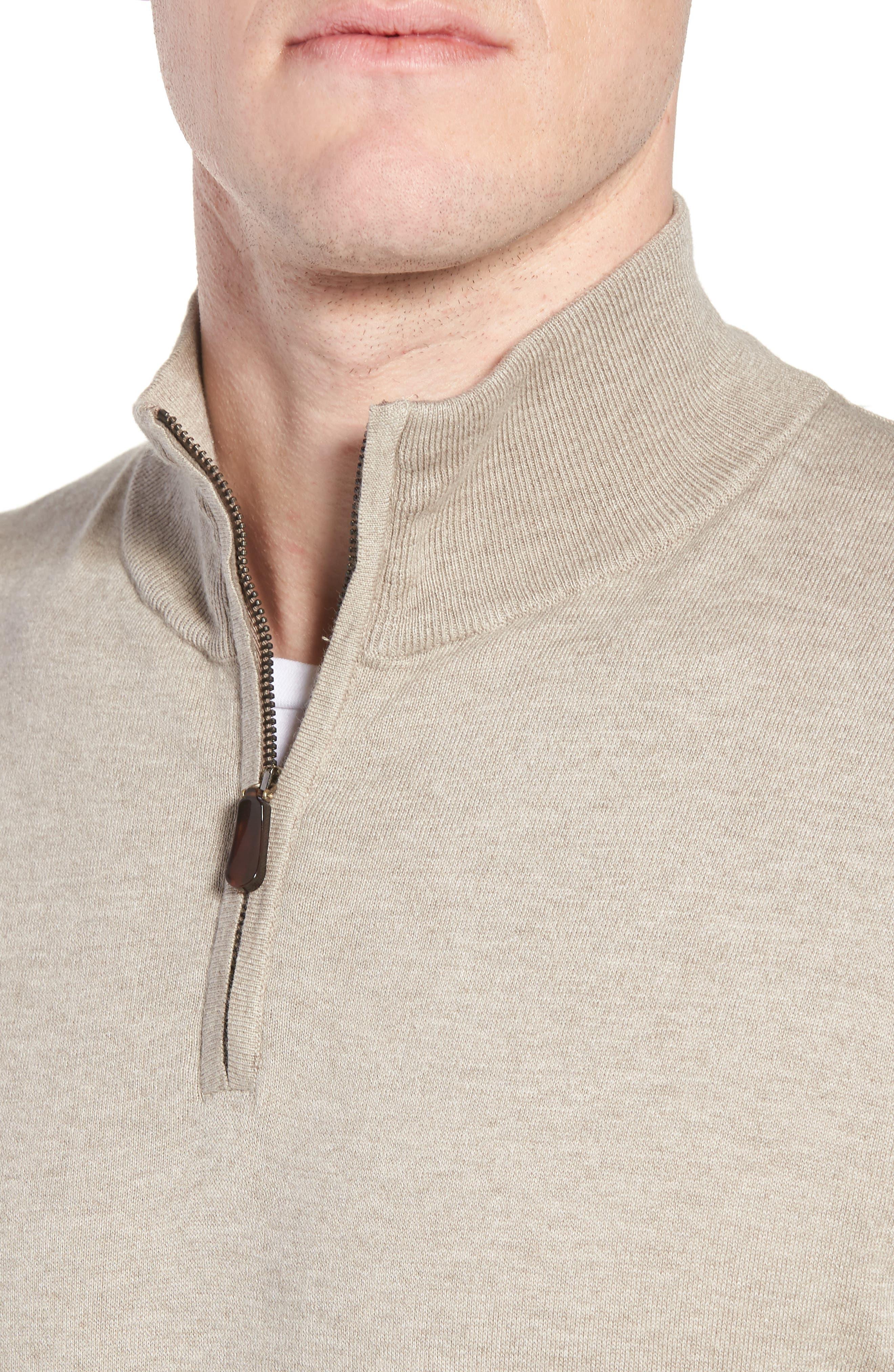 Cotton & Silk Quarter Zip Pullover,                             Alternate thumbnail 4, color,                             Dune