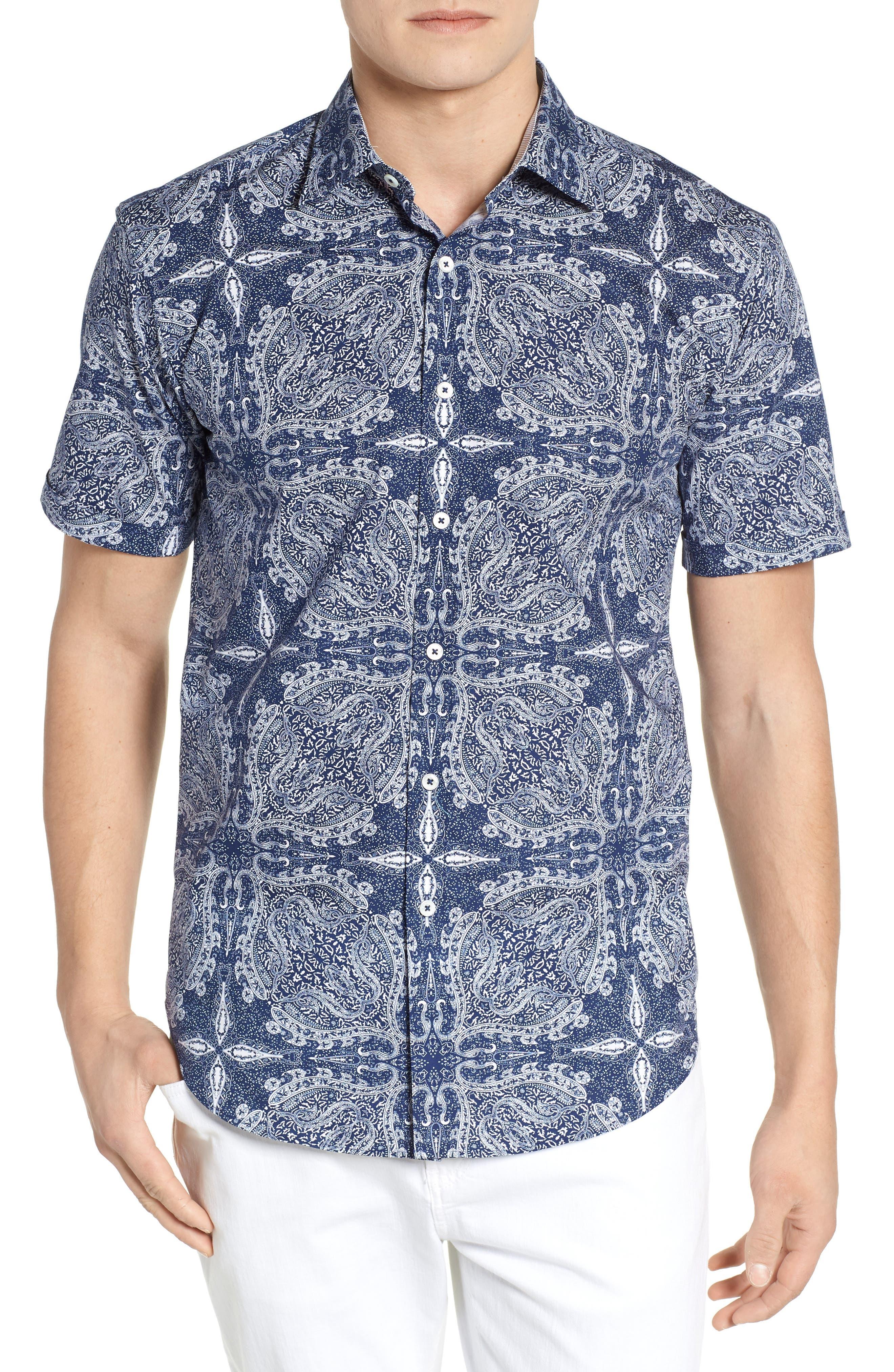 Shaped Fit Paisley Sport Shirt,                             Main thumbnail 1, color,                             Navy