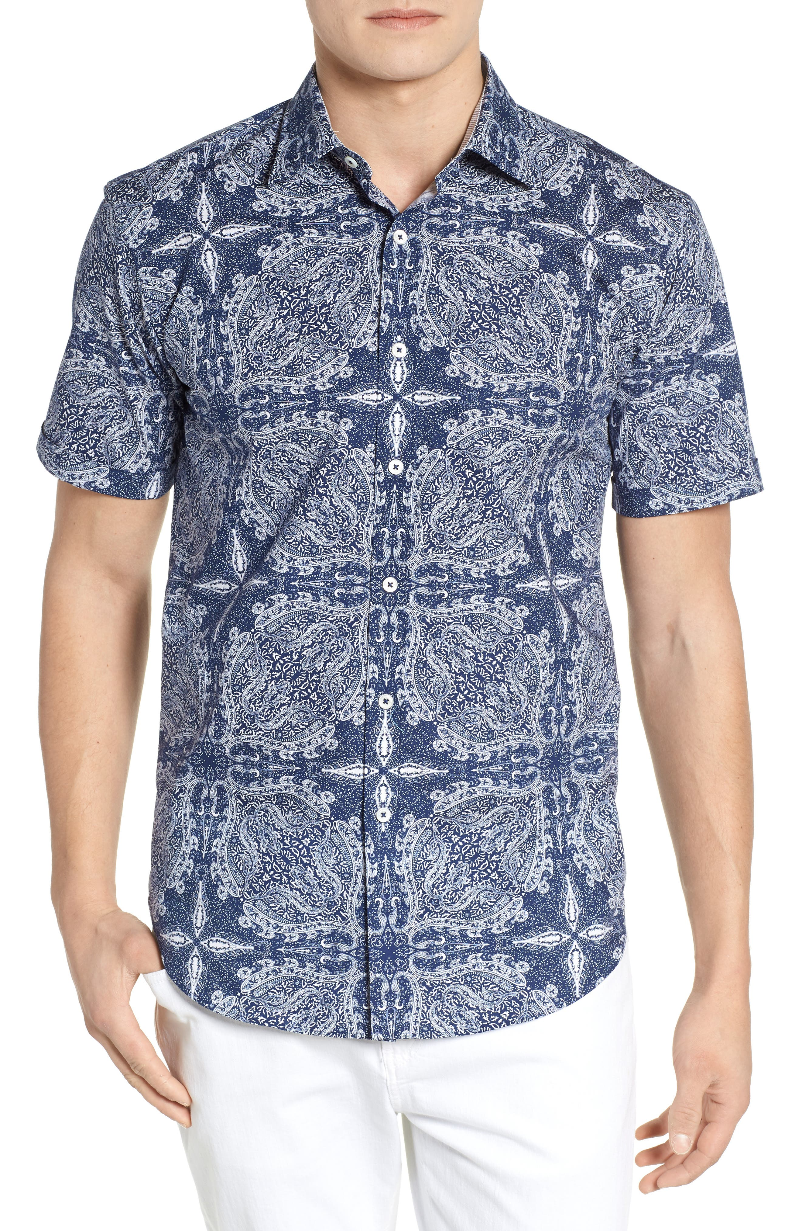 Shaped Fit Paisley Sport Shirt,                         Main,                         color, Navy