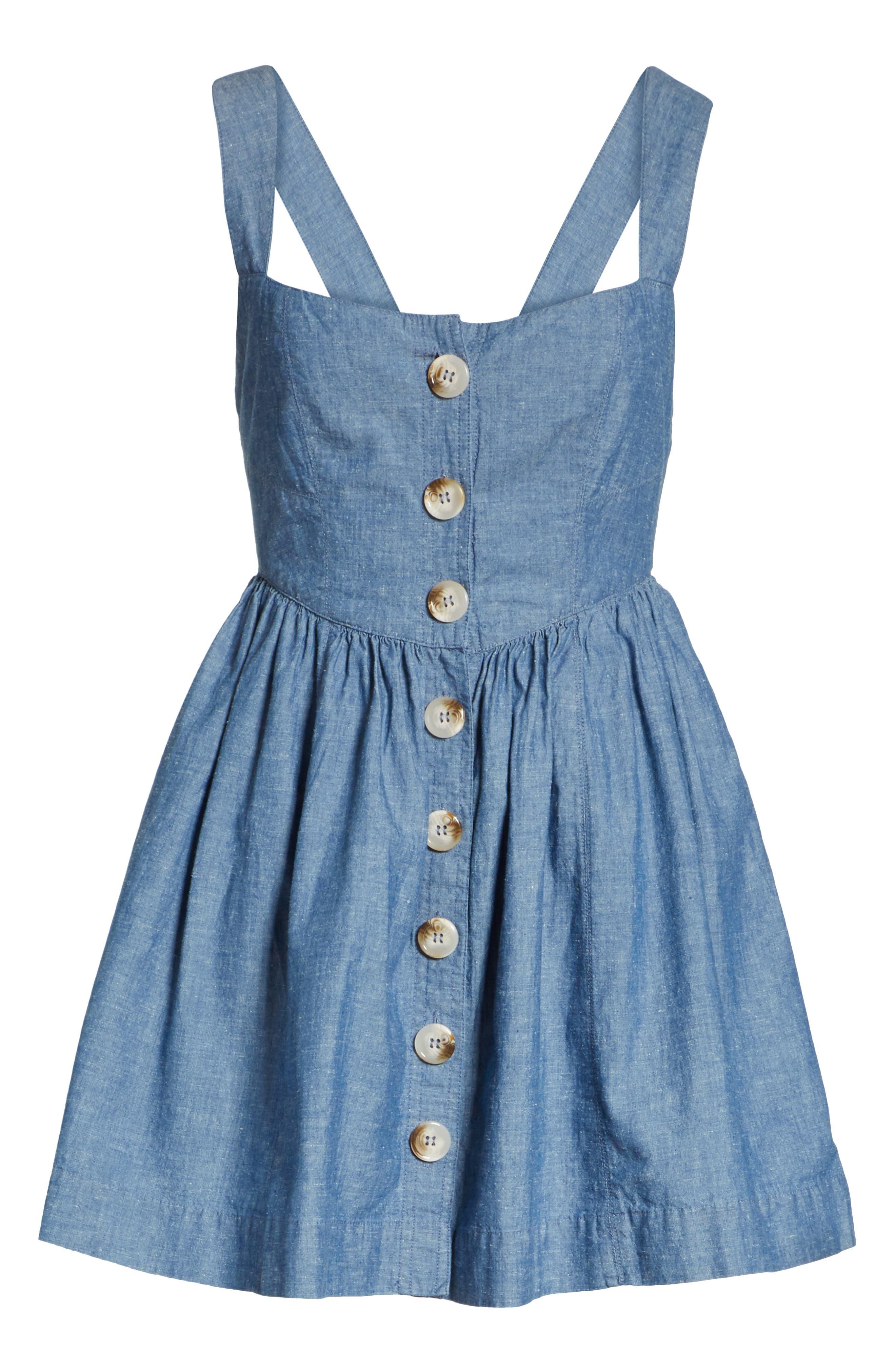 Carolina Chambray Minidress,                             Alternate thumbnail 6, color,                             Blue