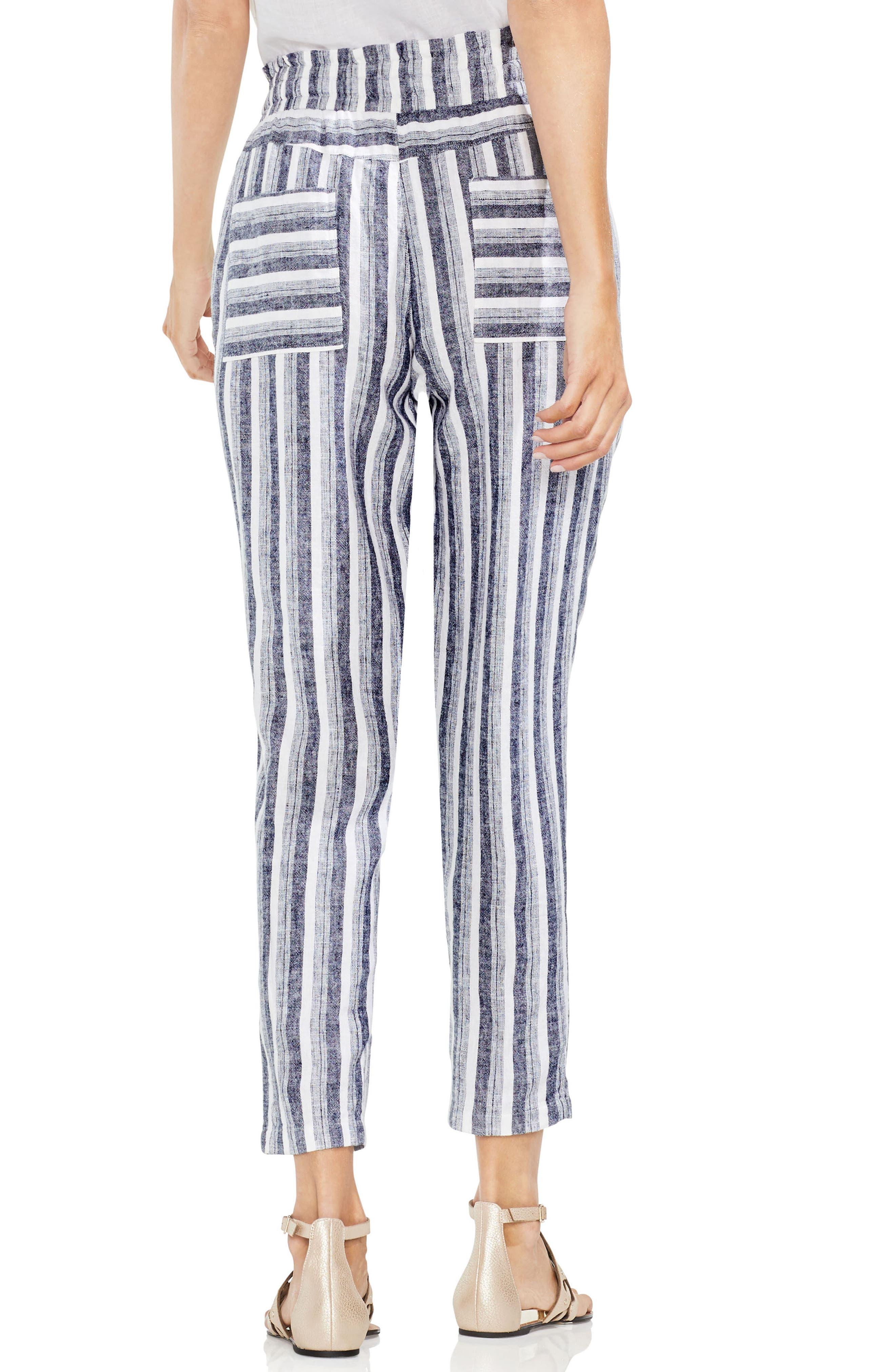 Shore Linen Blend Stripe Drawstring Pants,                             Alternate thumbnail 2, color,                             Ultra White