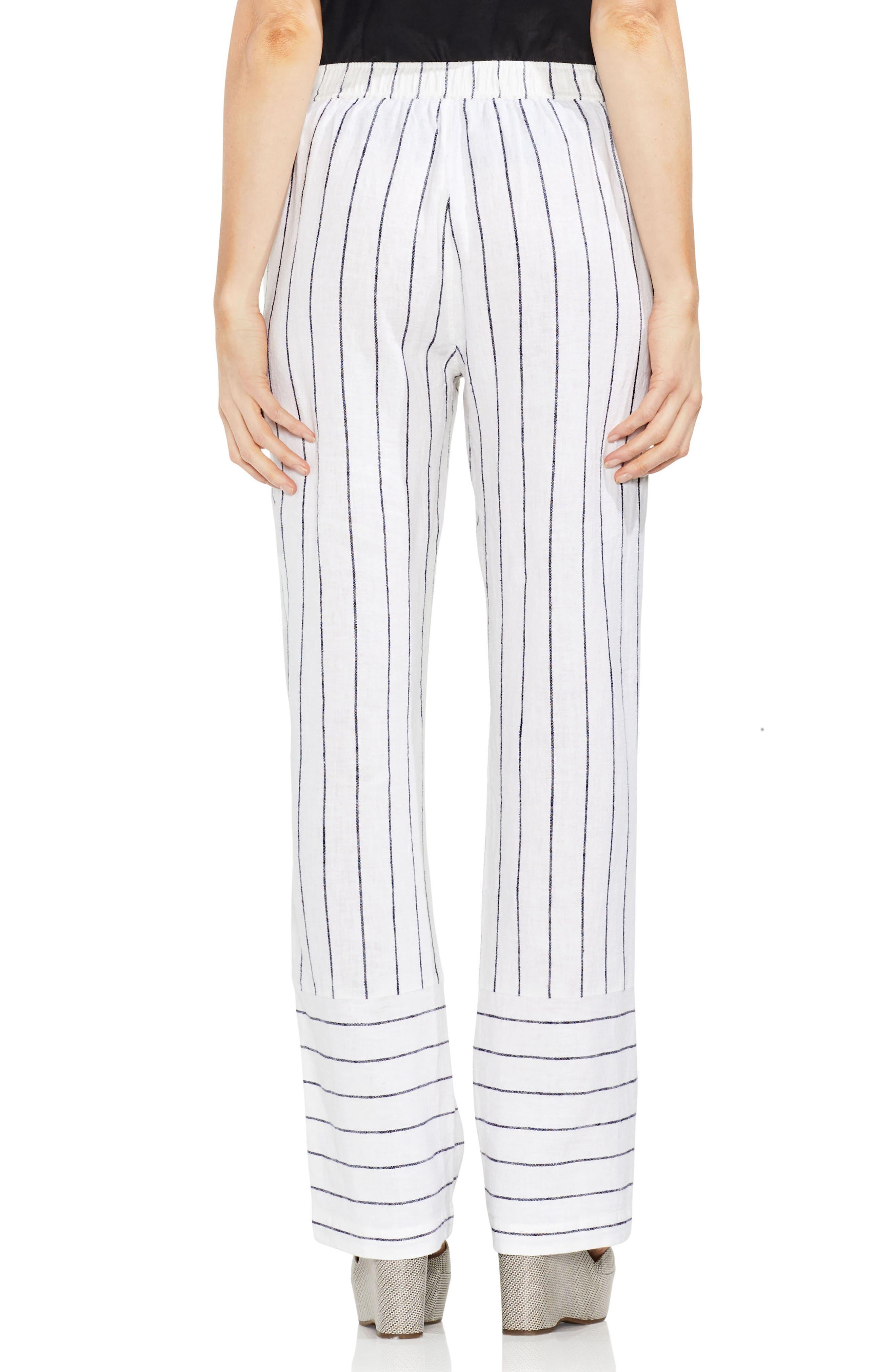 Pinstripe Linen Blend Drawstring Pants,                             Alternate thumbnail 2, color,                             Ultra White