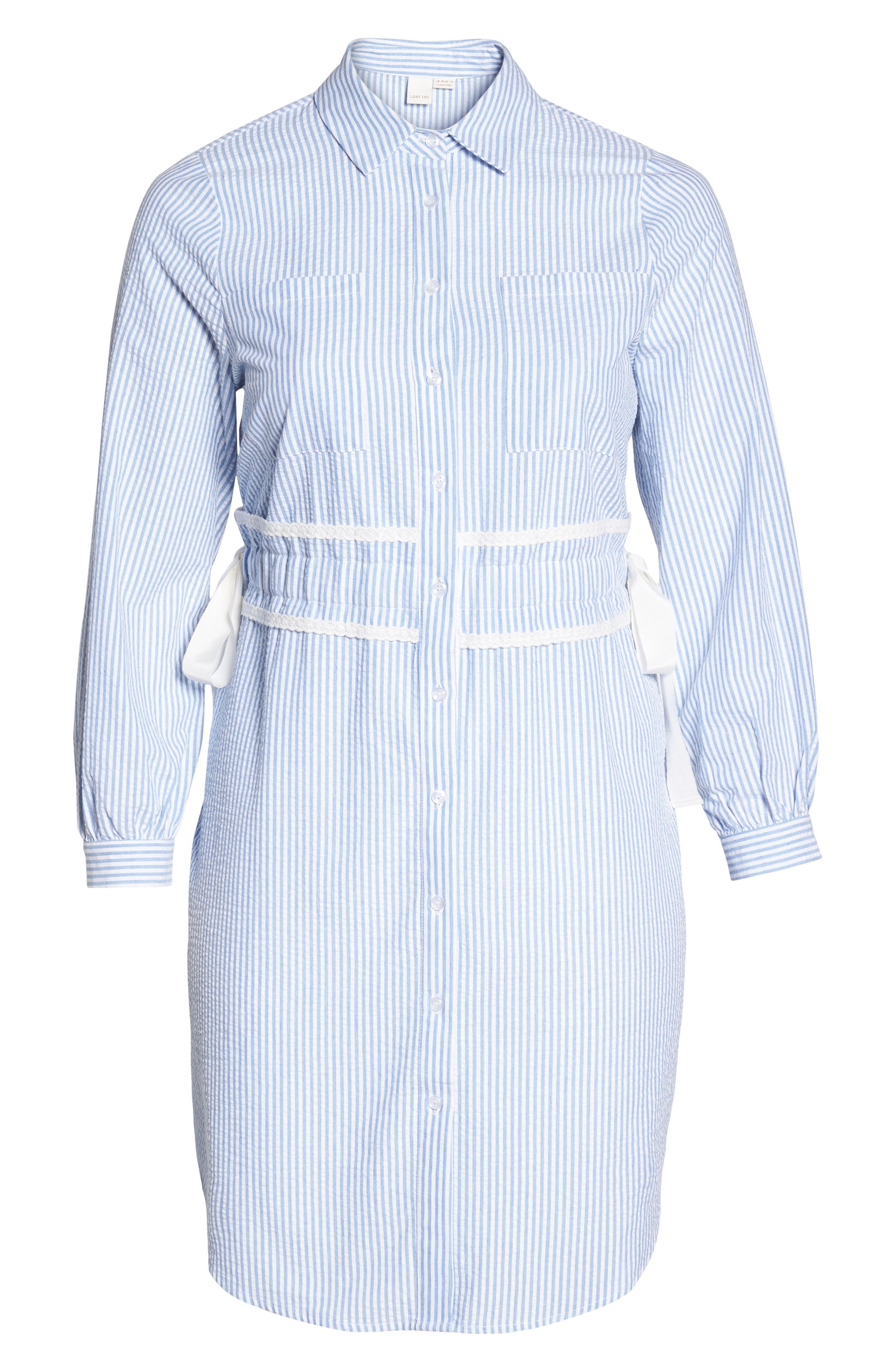 Side Tie Stripe Shirtdress,                             Alternate thumbnail 6, color,                             Stripe Print