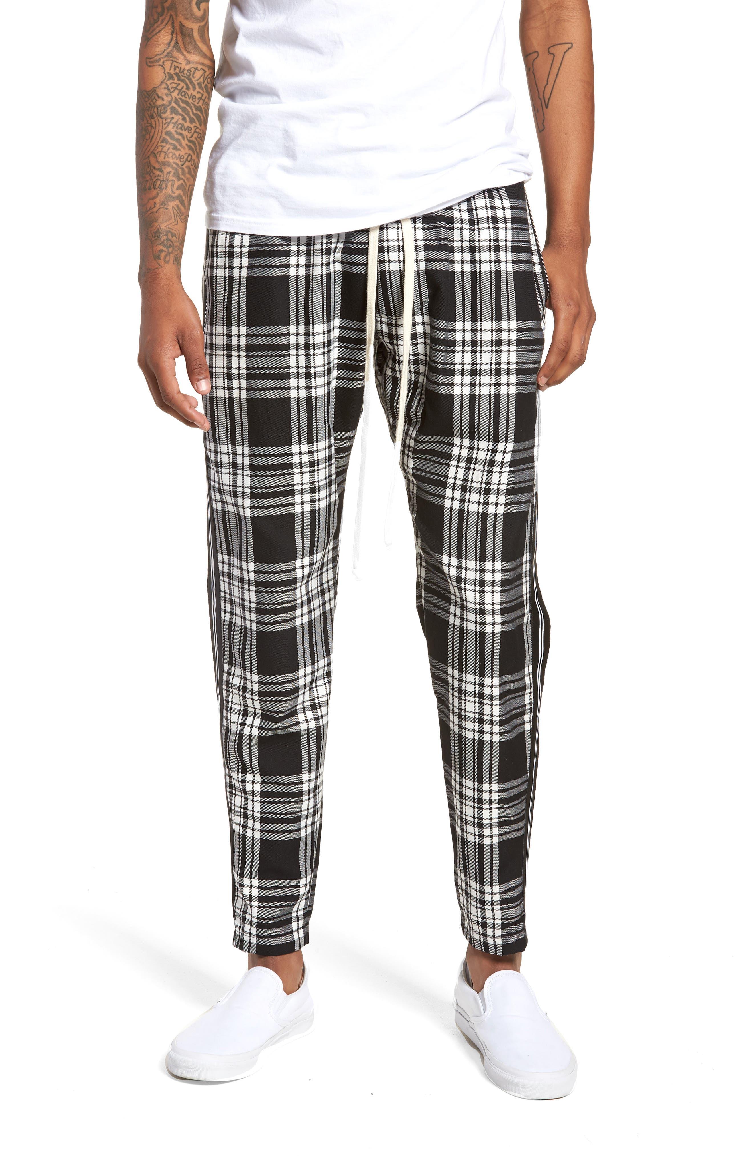 Plaid Jogger Pants,                         Main,                         color, Black