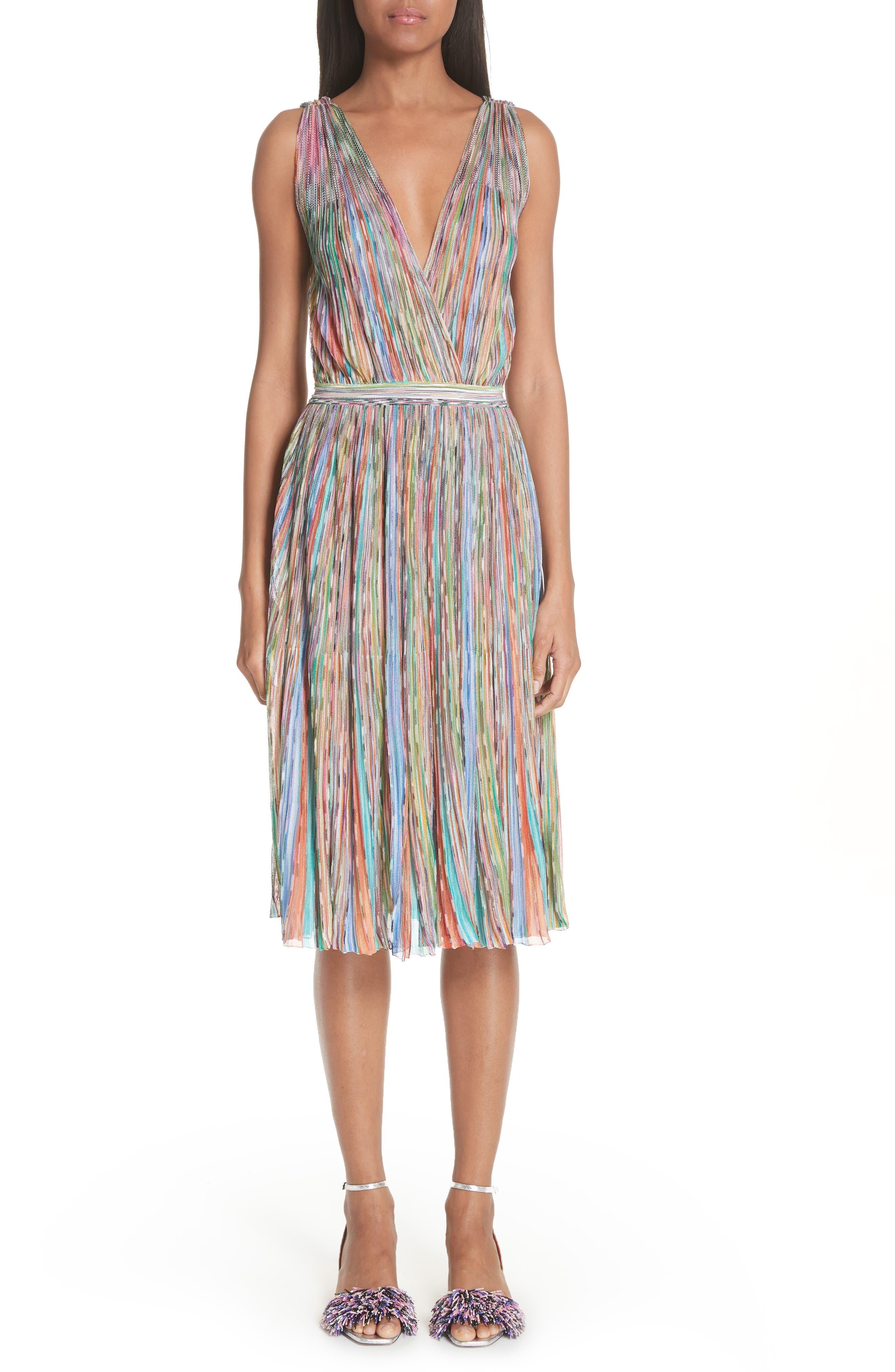 Surplice Neck Stripe Midi Dress,                         Main,                         color, Multi