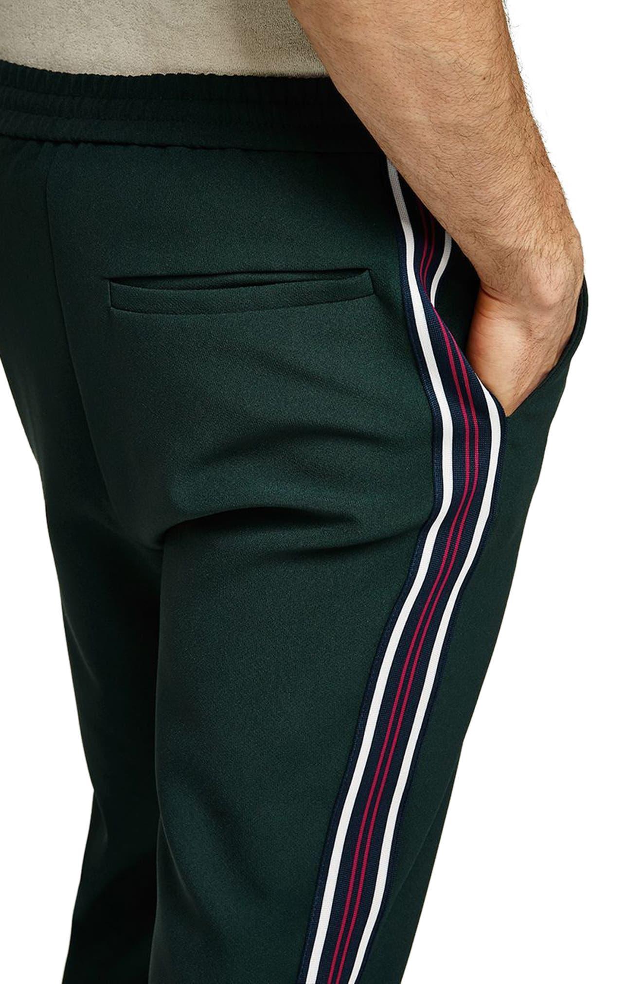 Slim Cropped Track Pants,                             Alternate thumbnail 3, color,                             Green Multi