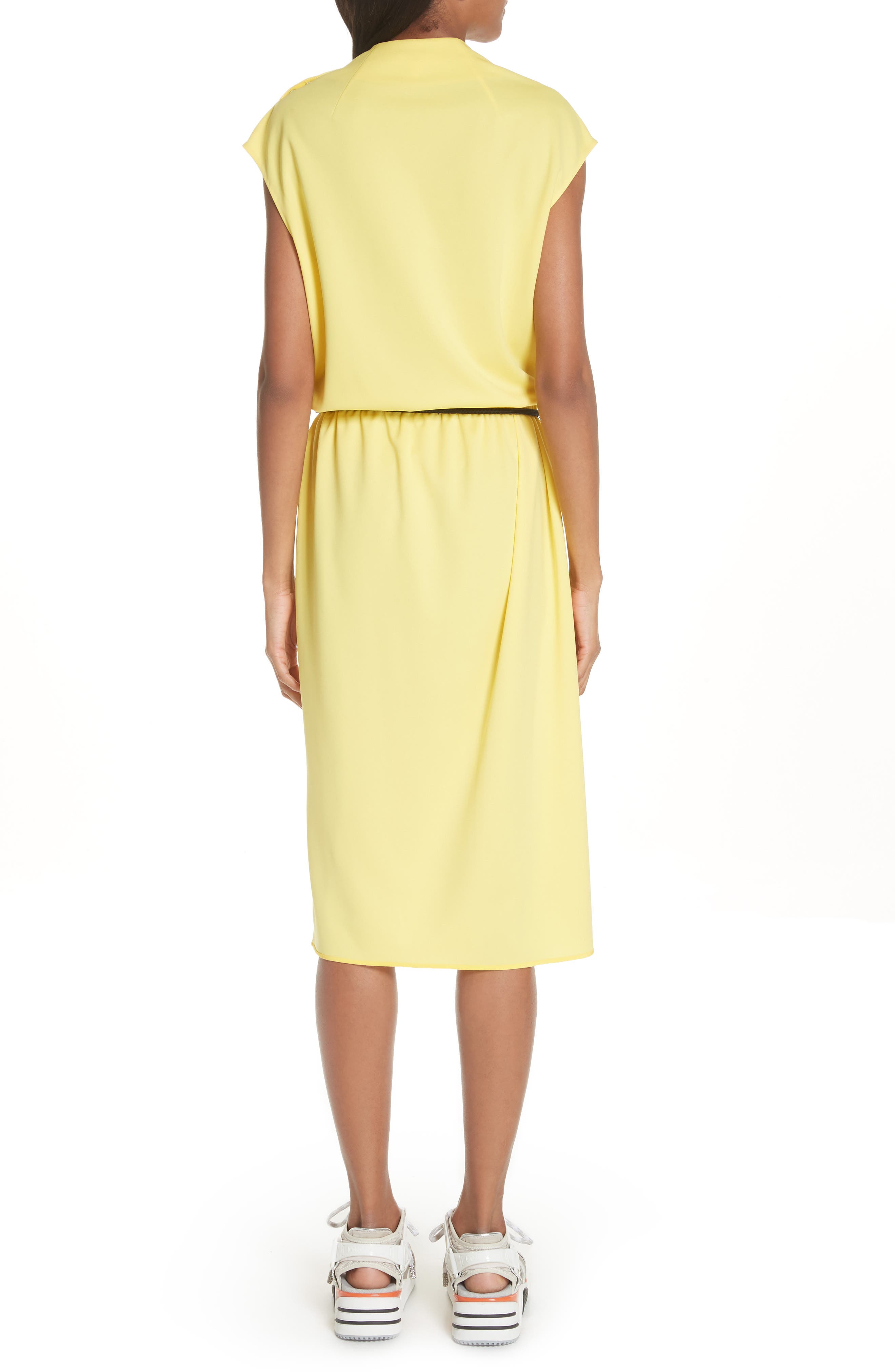 Cowl Neck Belted Dress,                             Alternate thumbnail 2, color,                             Yellow