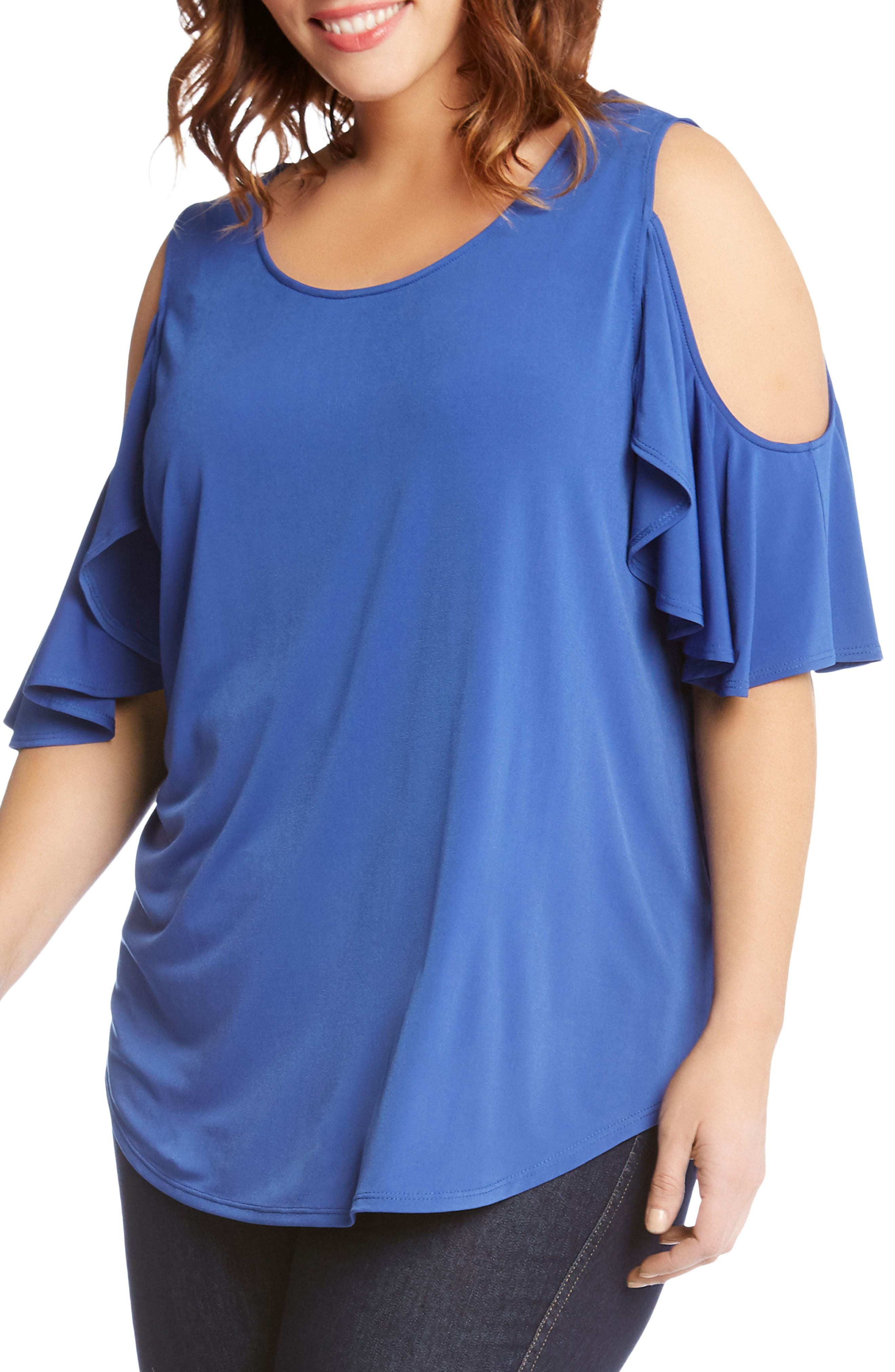 Ruffle Cold Shoulder Top,                             Alternate thumbnail 3, color,                             Iris